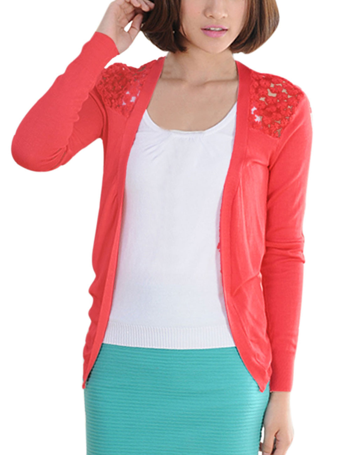 Lady Lace Panel Low-High Hem Leisure Cardigan Coral XS