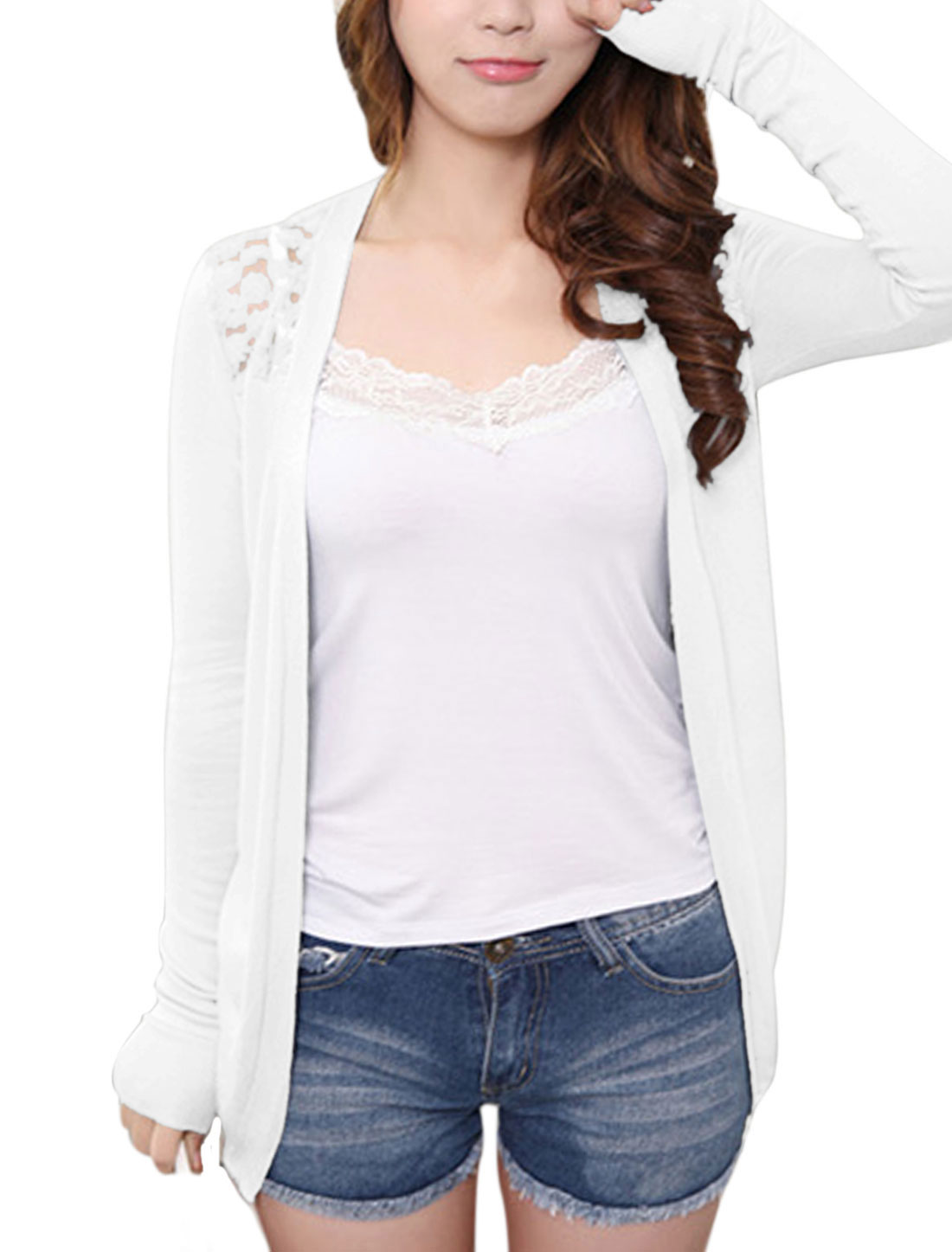Women Lace Panel Flower Design Detail Cardigan White XS