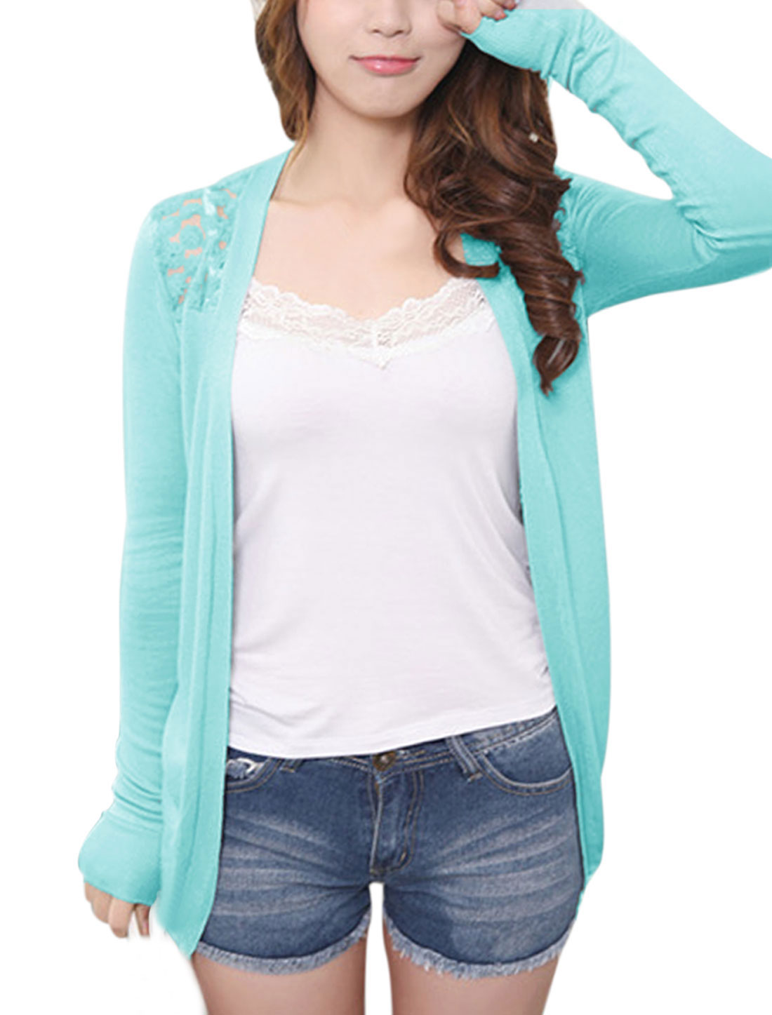 Lady Korean Style Lace Patchwork Casual Cardigan Aqua XS