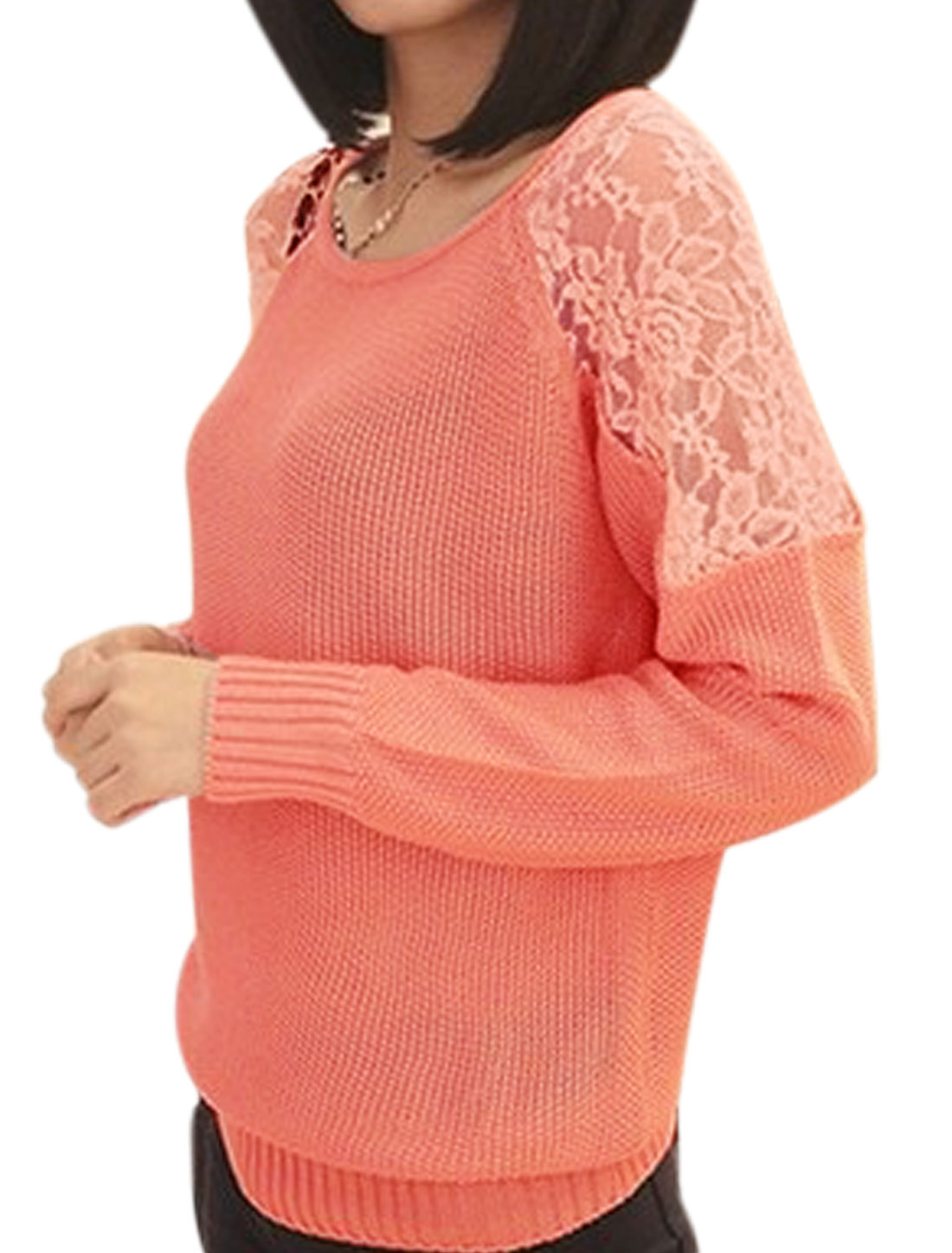 Women Round Neck Long Sleeves Lace Spliced Sweater Pink XS