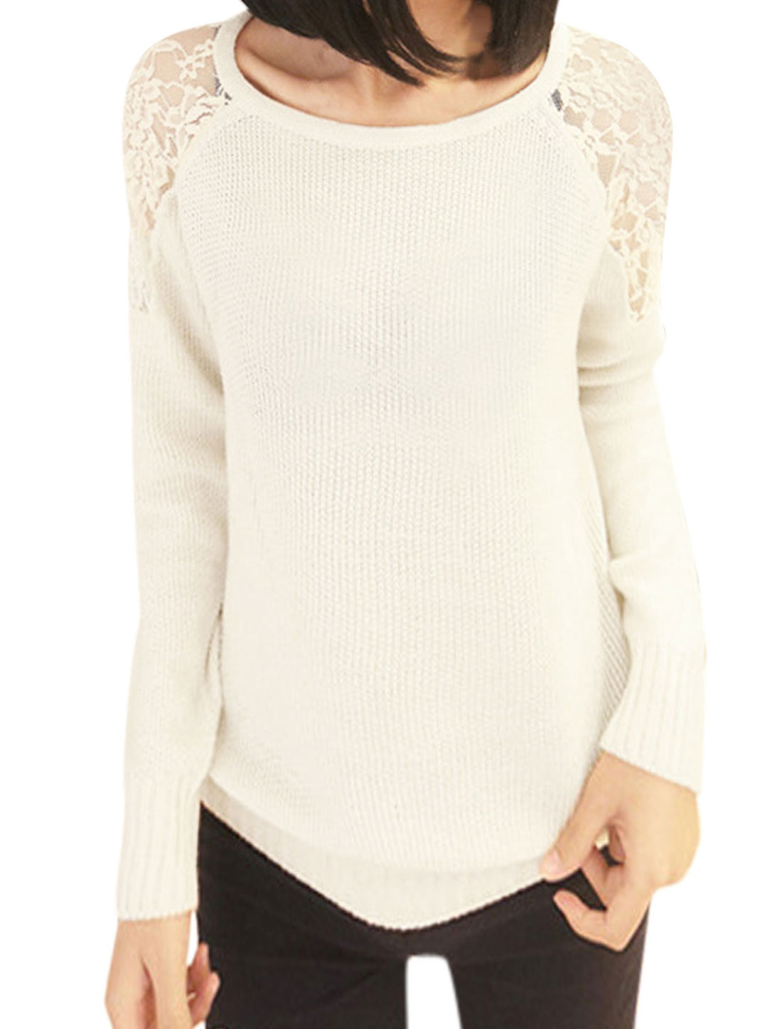 Ladies Pullover Lace Panel Round Neck Beige Sweater XS