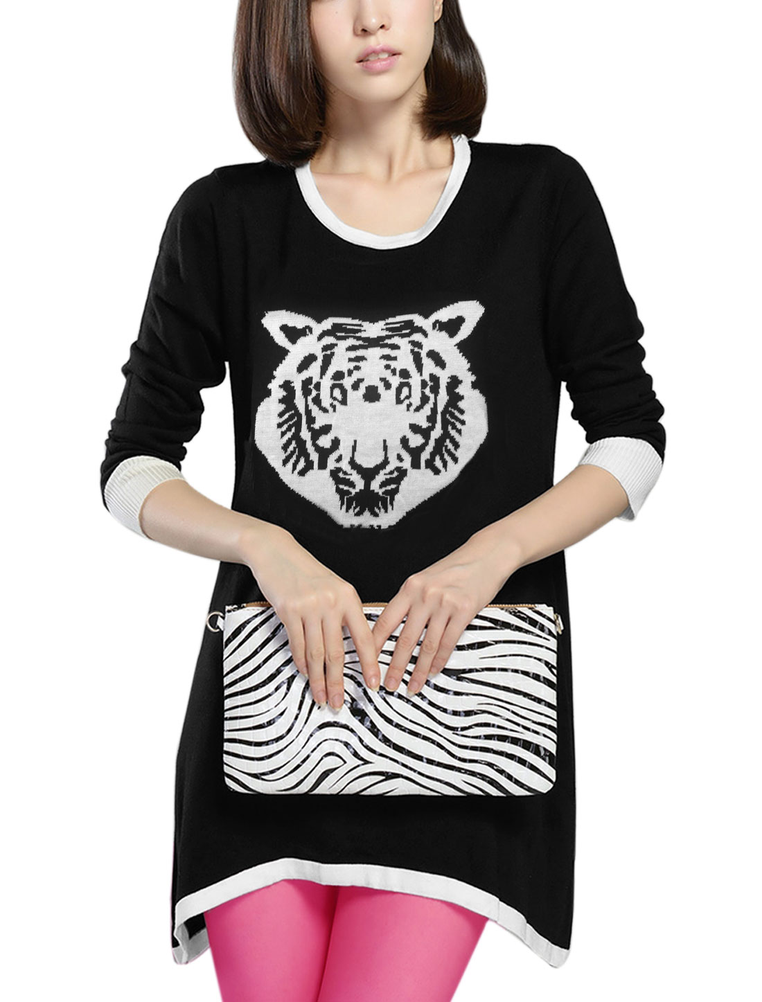 Lady 3/4 Sleeves Tigger Pattern Irregular Hem Casual Tunic Knit Top Black XS