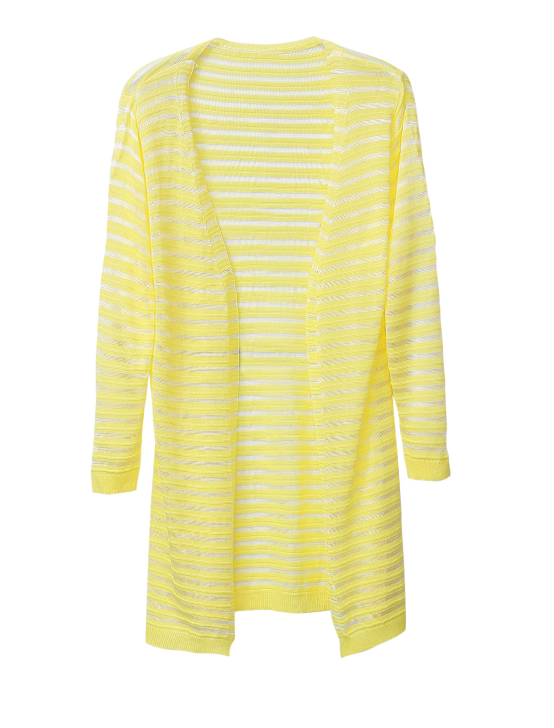 Women Front Opening 3/4 Sleeves Striped Casual Light Long Cardigan Light Yellow S