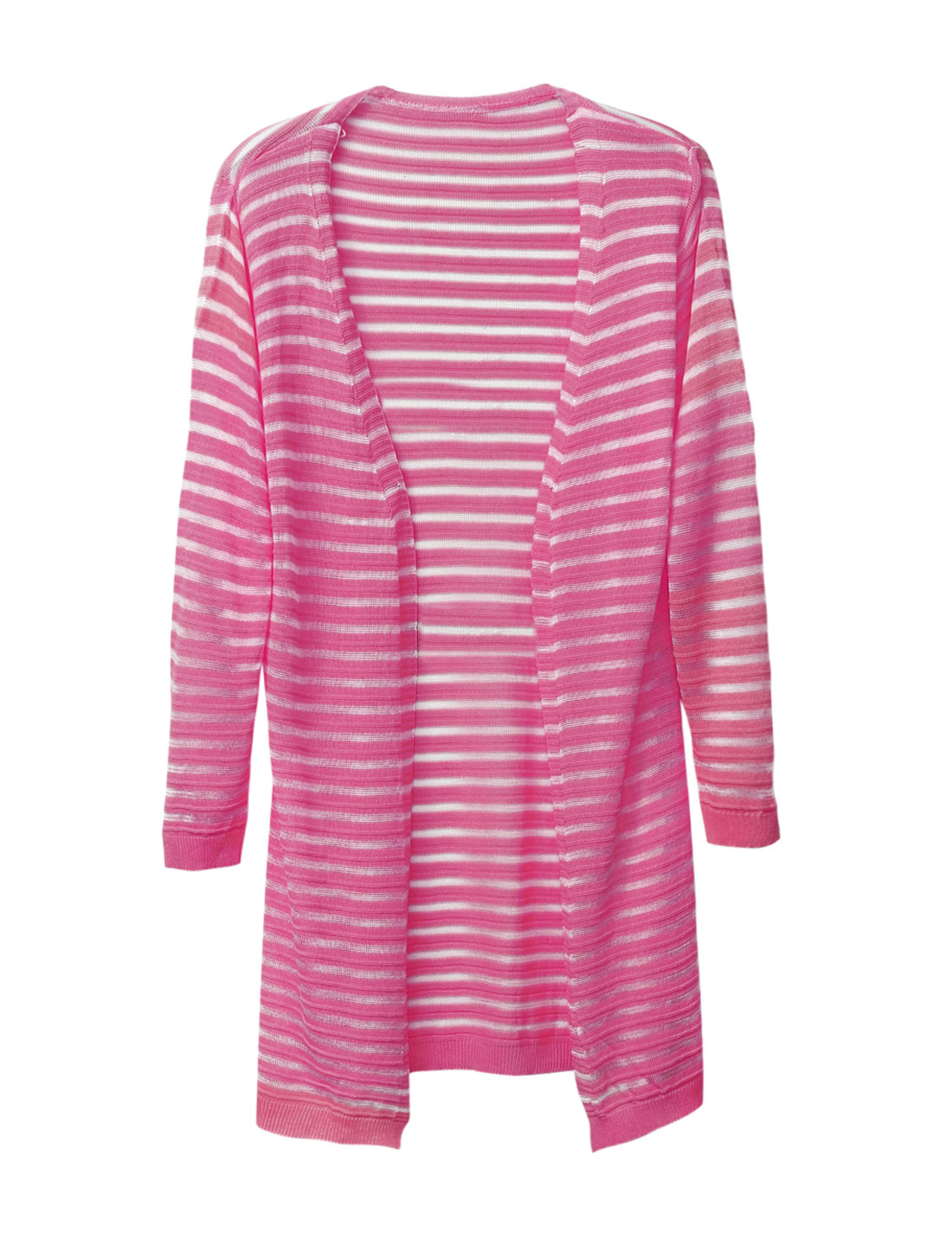 Women Buttonless 3/4 Sleeves Striped Casual Light Long Cardigan Fuchsia S