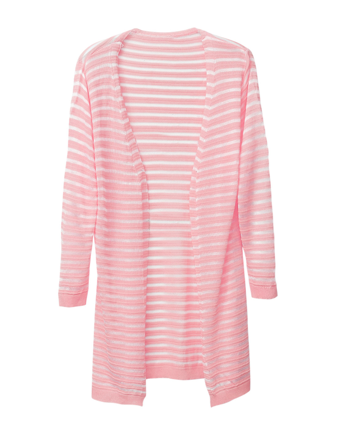 Women Buttonless Ribbed Hem Striped Casual Light Long Cardigan Pink S