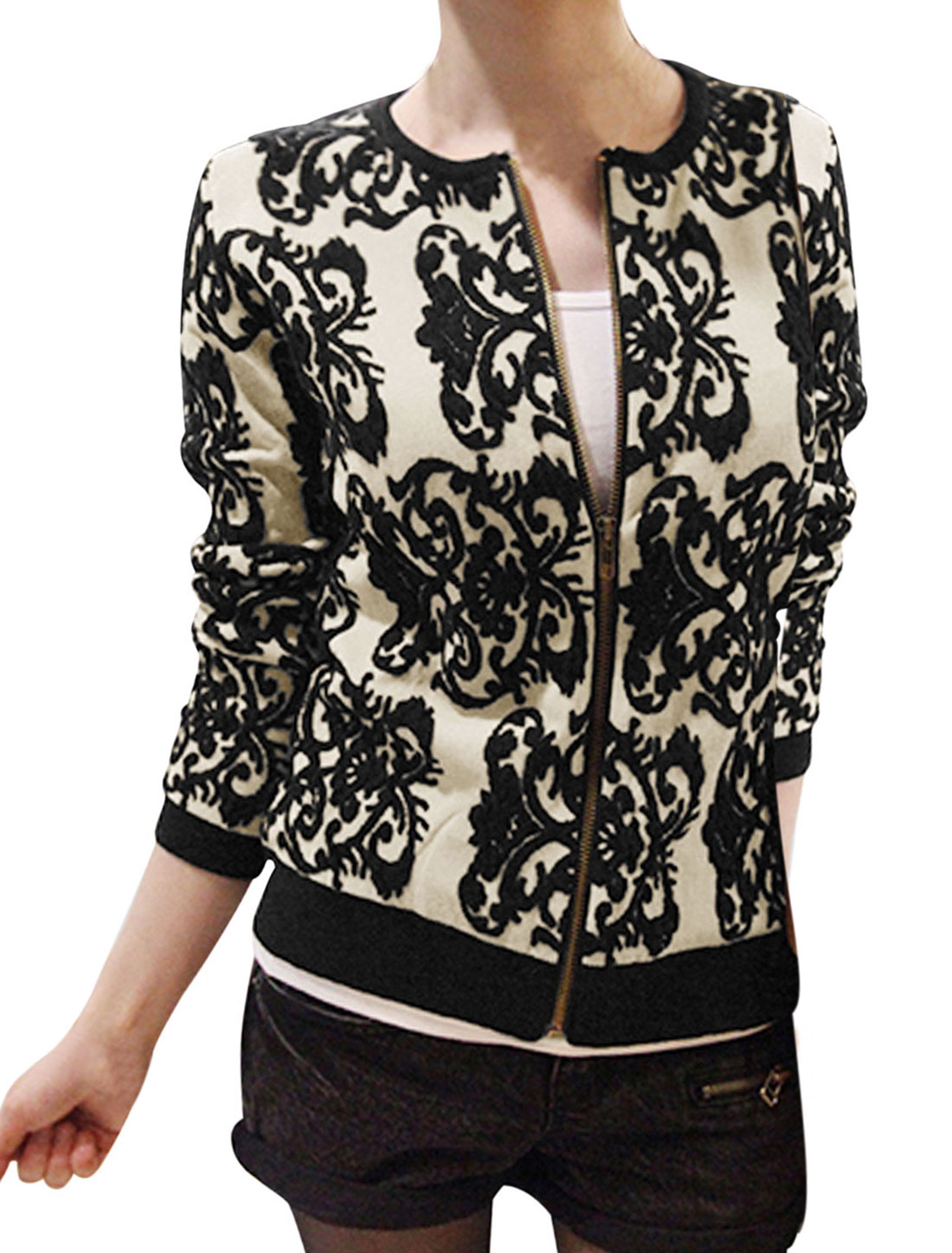 Lady Zip Up Front Jacquard Pattern Long Sleeve Knit Jacket Black Beige S
