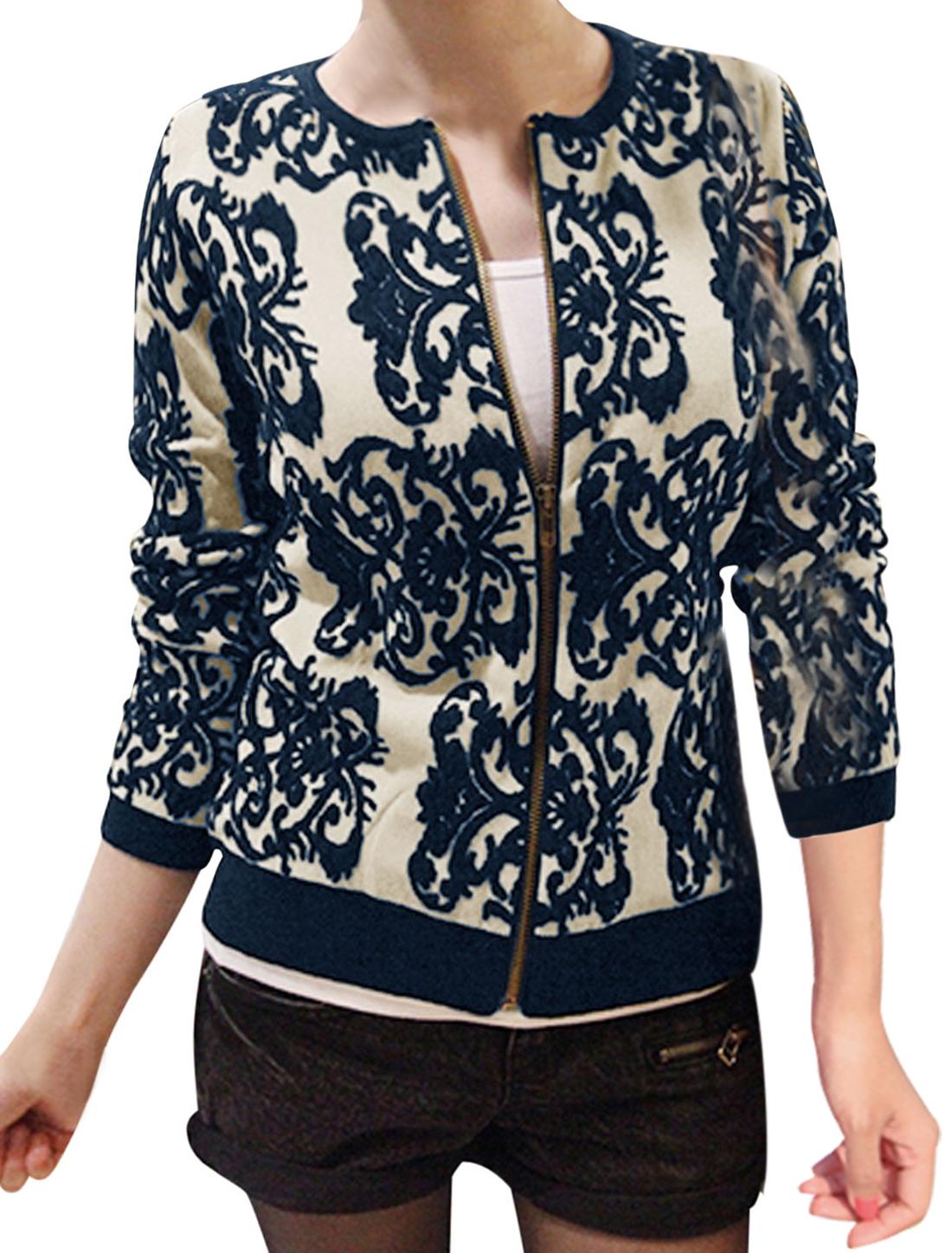 Women Zip Up Long Sleeve Ribbed Hem Knit Jacket Navy Blue Beige S