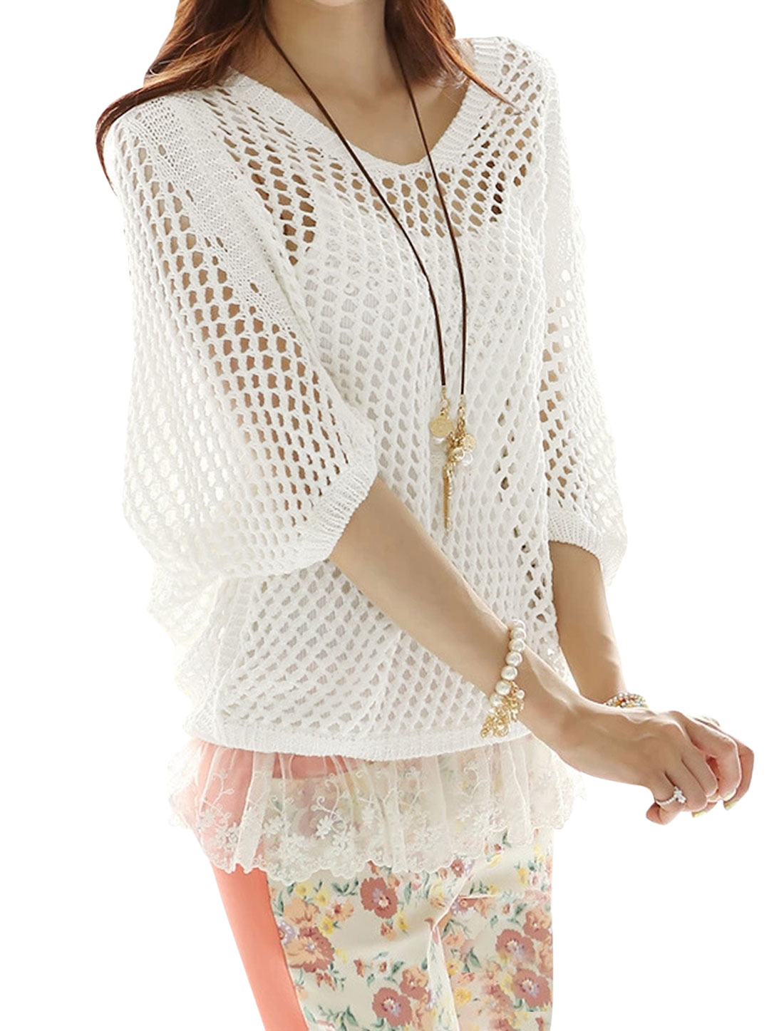 Women Summer 3/4 Batwing Sleeves Hollow Out Rib Knit Cover-Up Top White S