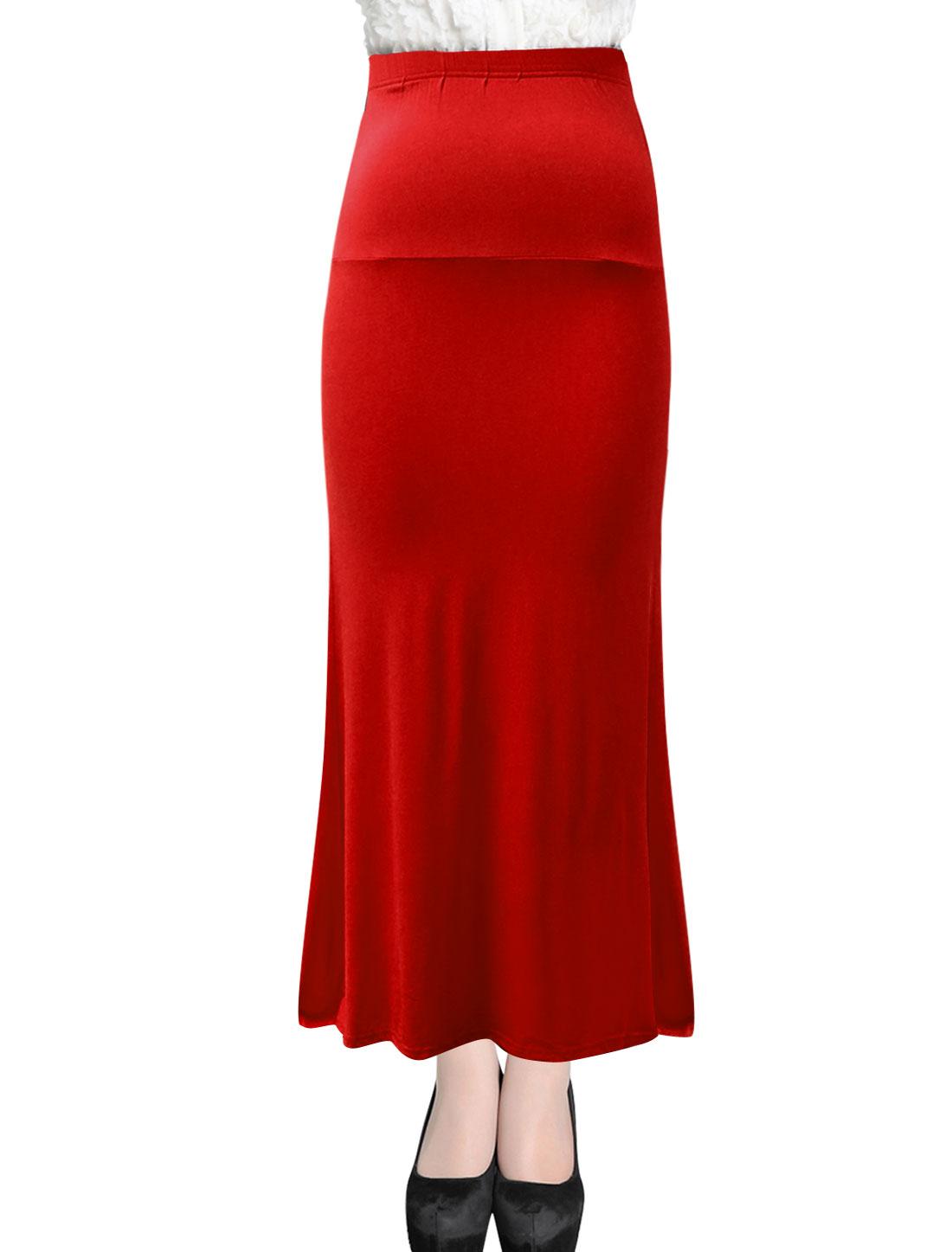 Women Summer Fit Elastic Waist Casual Maxi Straight Skirt Red XL
