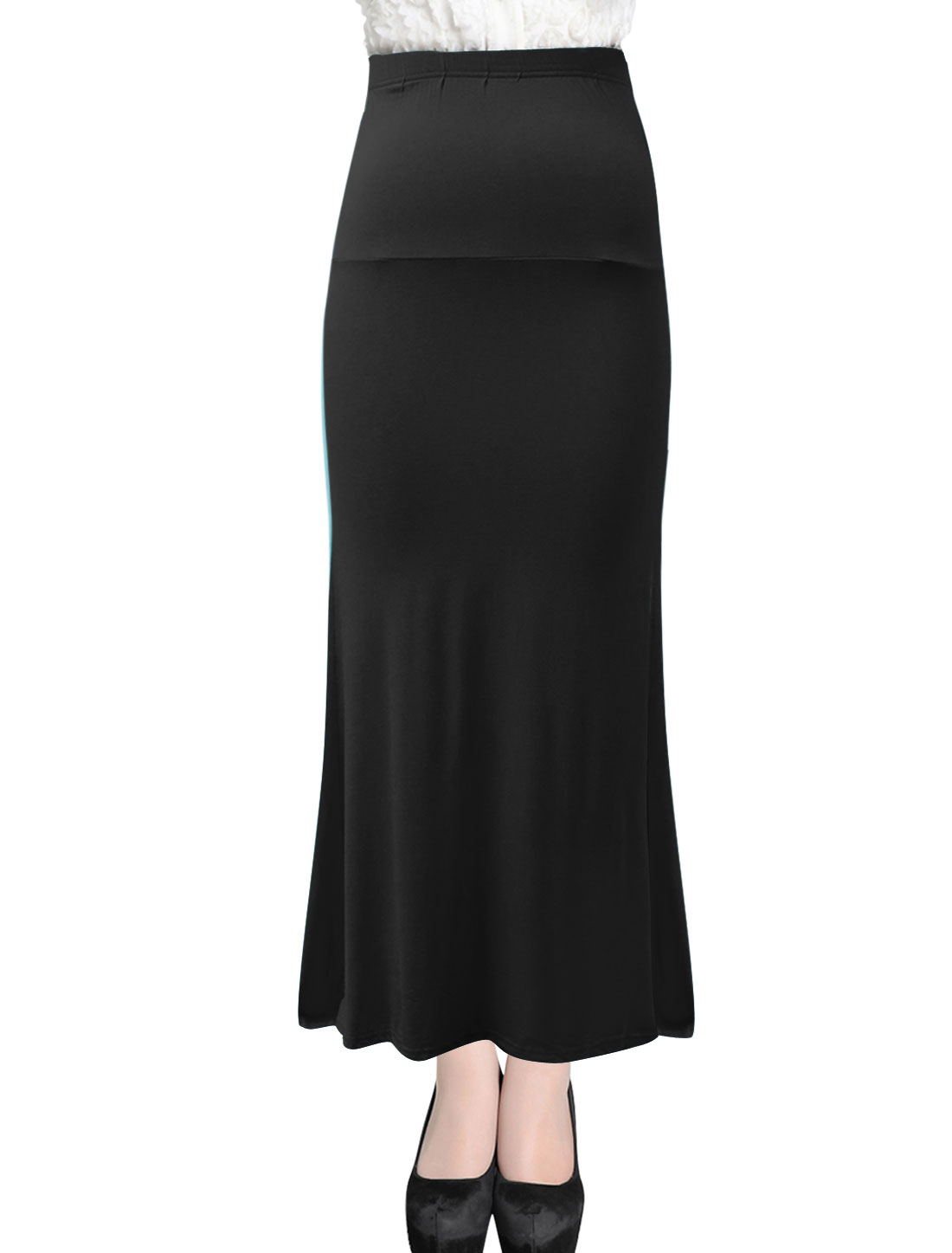 Lady Stretchy Waist Casual Long Straight Skirt Black M