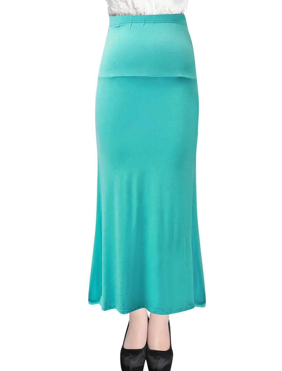 Women Fashion Style Elastic Waist Casual Maxi Straight Skirt Aqua XL