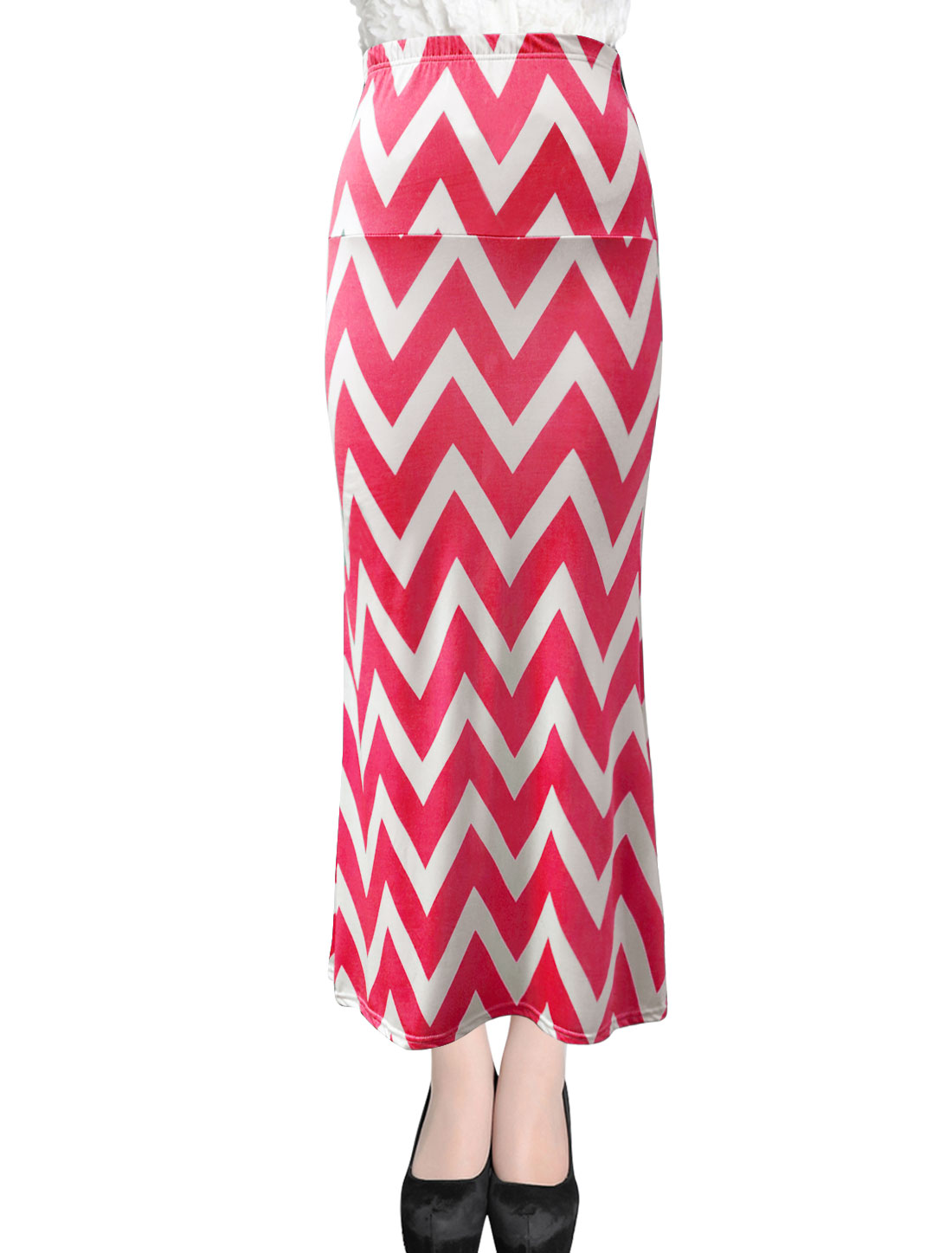 Lady Stretchy Waist Casual Maxi Straight Skirt Dark Pink White XL