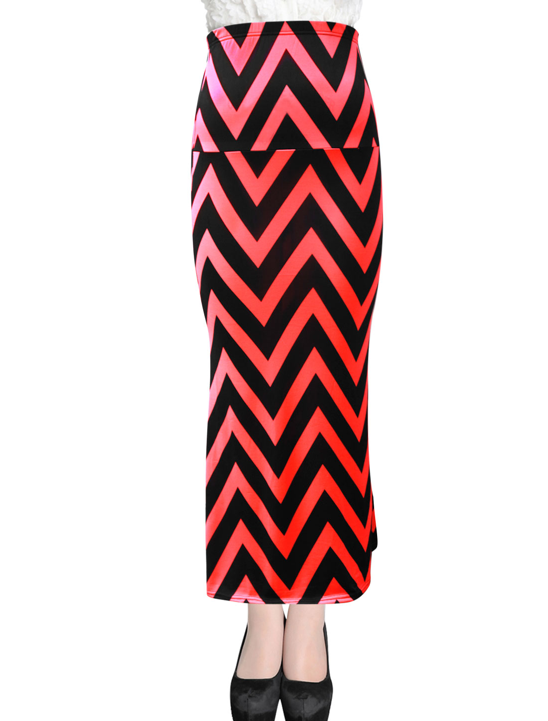 Women Fashion Style Stretchy Waist Long Straight Skirt Watermelon Red Black XL