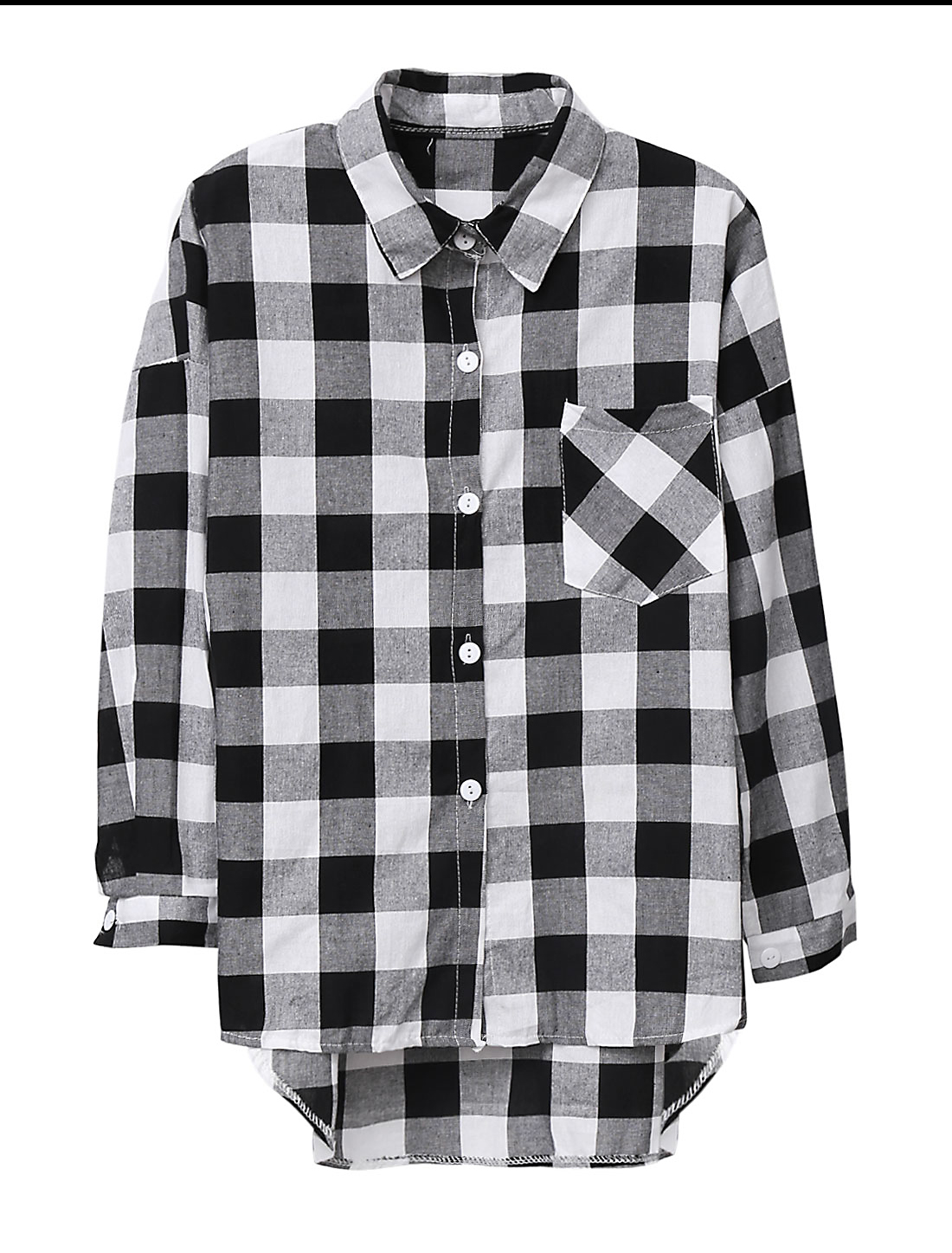 Lady Plaids Pattern Single Breasted One Pocket Chest Casual Shirt Black White S