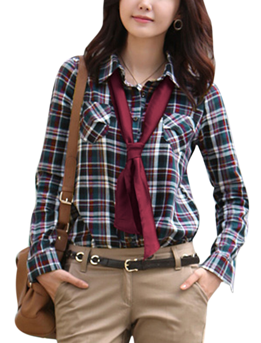Lady Single Breasted Removable Bowknot Sash Casual Shirt Multicolor XS