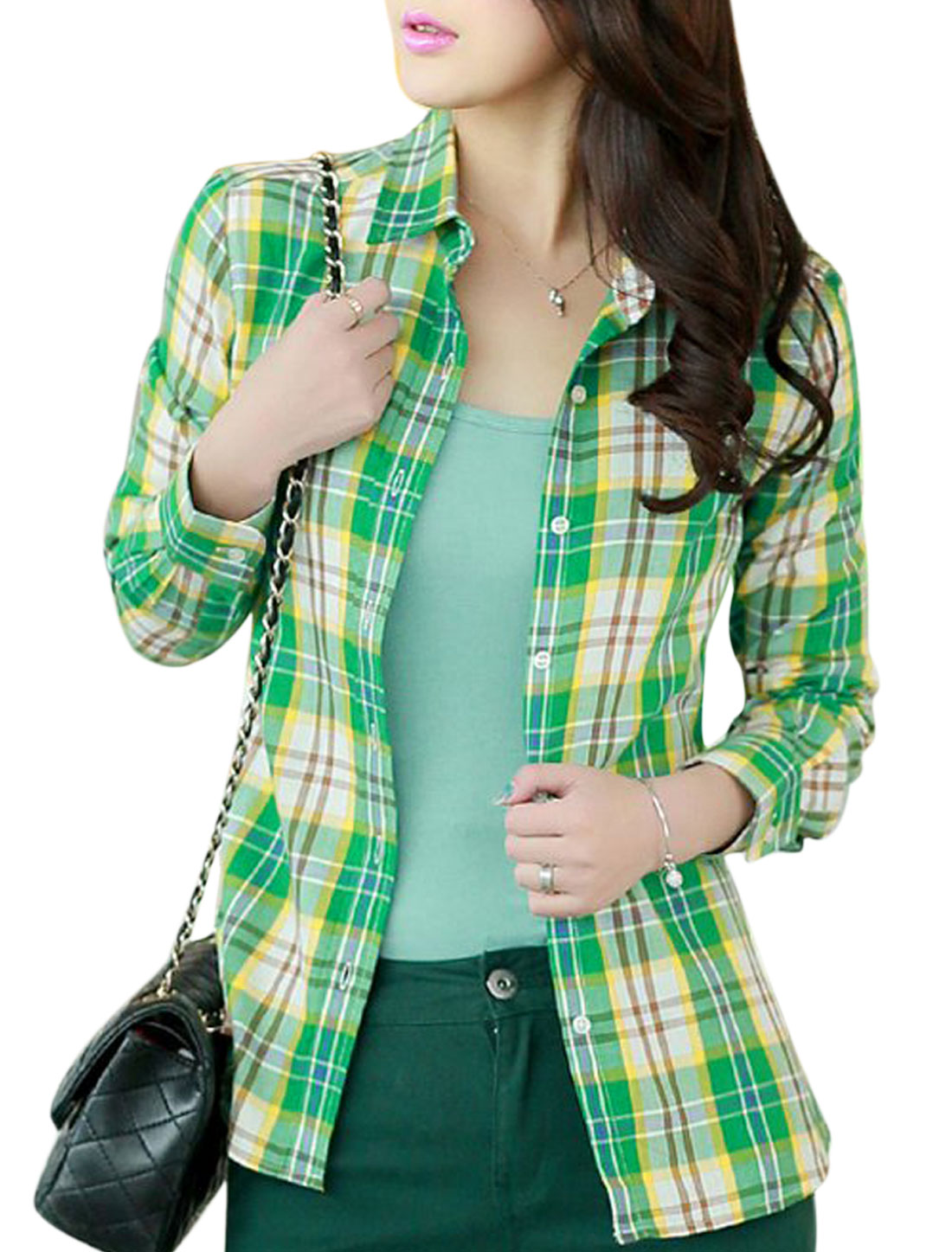 Women Point Collar Plaids Pattern Single Breasted Shirt Brown Green S