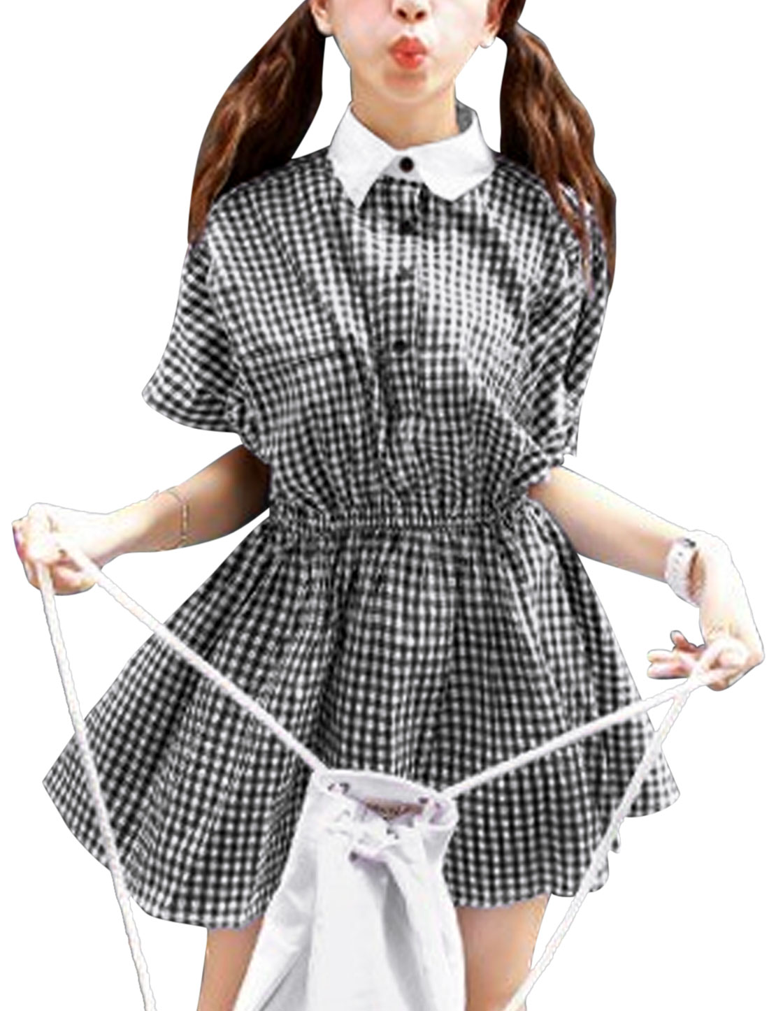 Lady Point Collar Plaids Pattern Casual Shirt Dress Black S