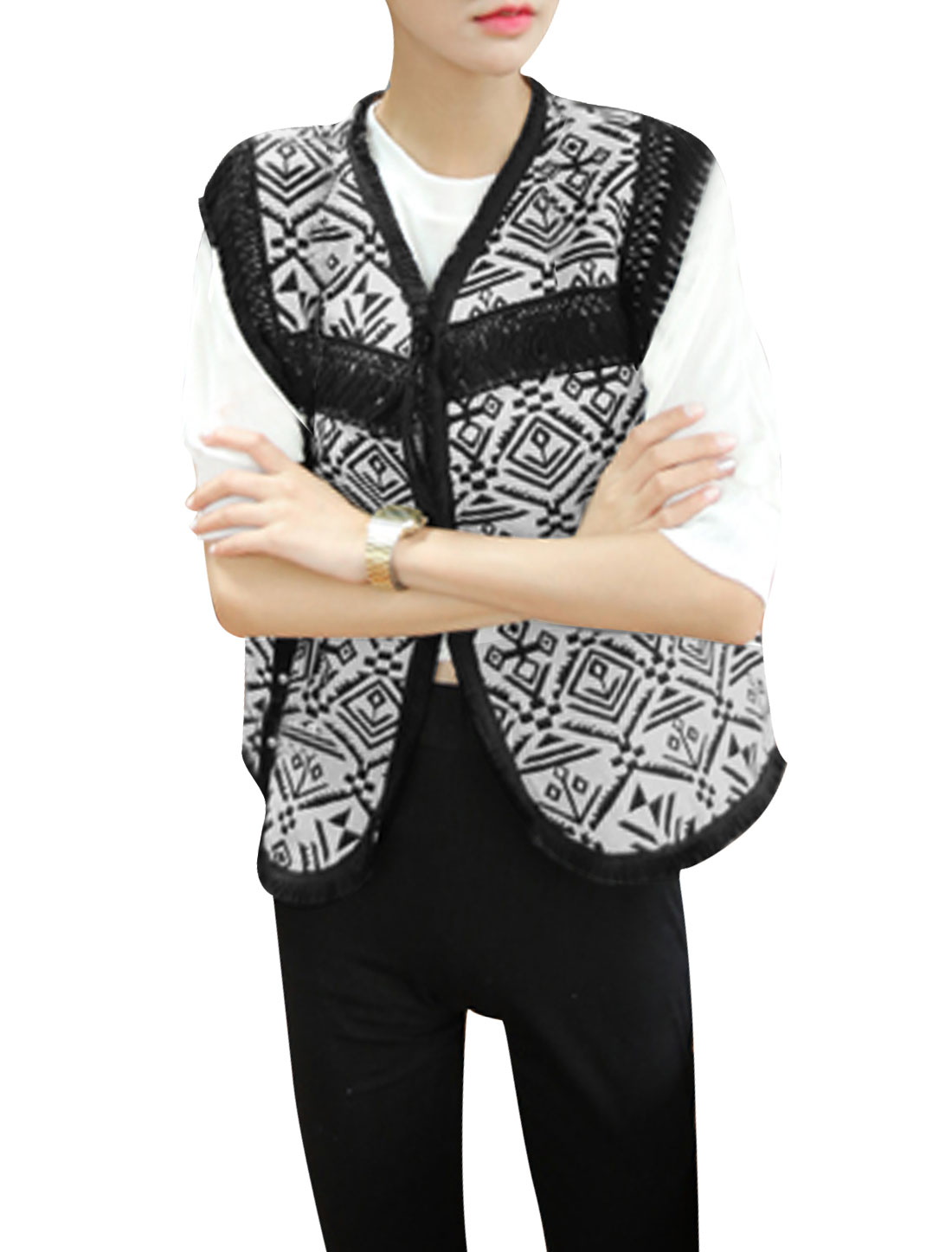 Ladies Geometric Print Tassel Trim Casual Linen Vest Black White XS
