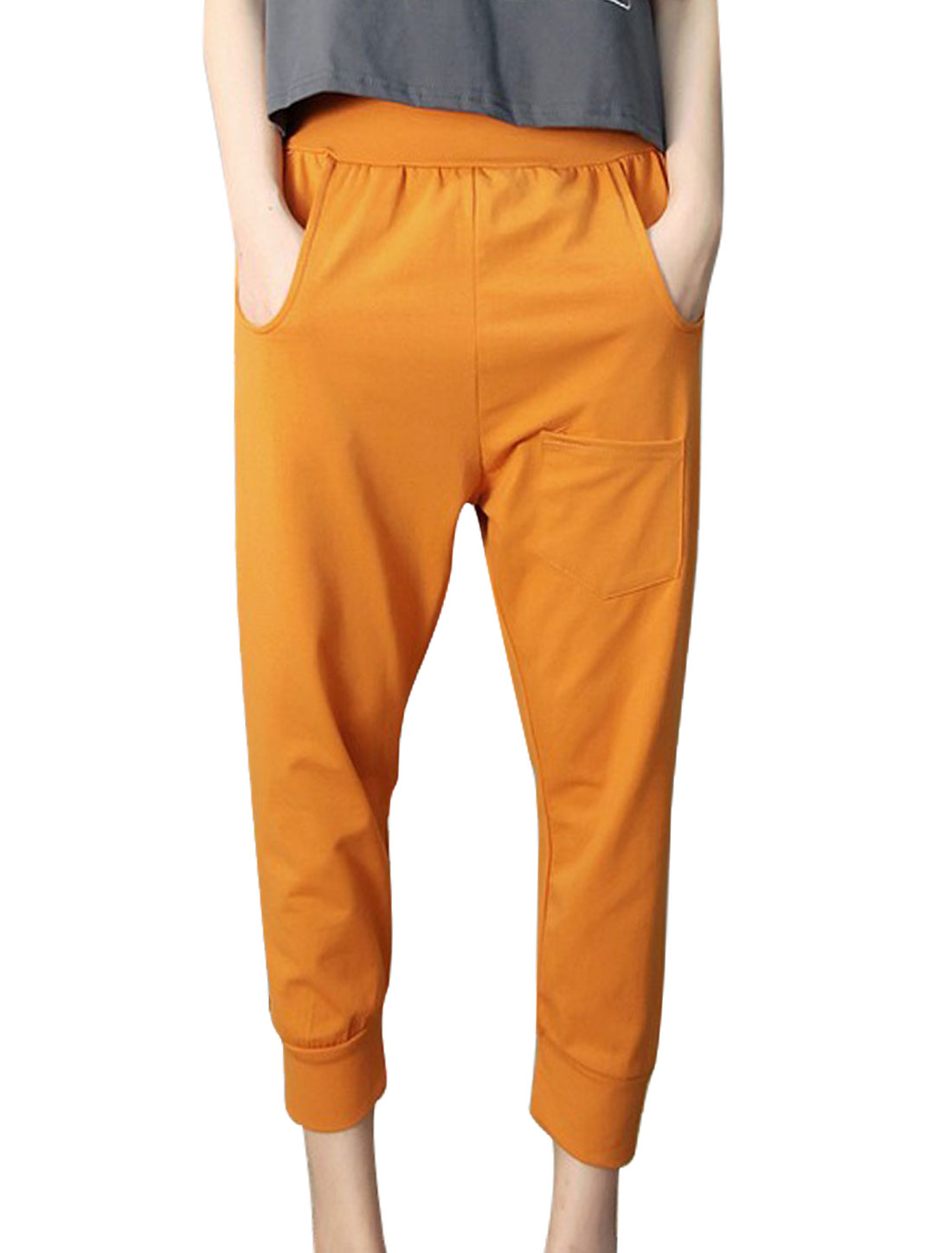 Elastic Waist Front Pockets Casual Cropped Pants for Lady Ochre XS