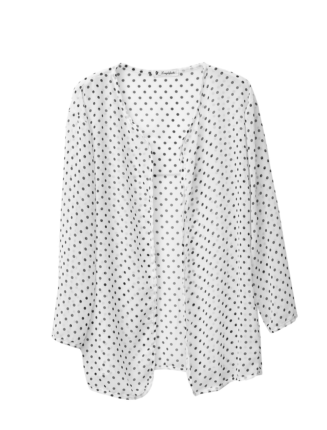 Lady Dots Pattern Fashionable Leisure Chiffon Cardigan White S