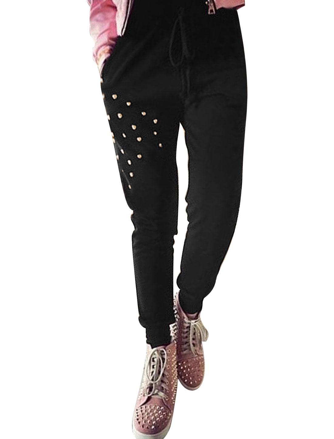Women Elastic Ribbed Cuffs Metal Rivet Decor Leisure Pants Black XS