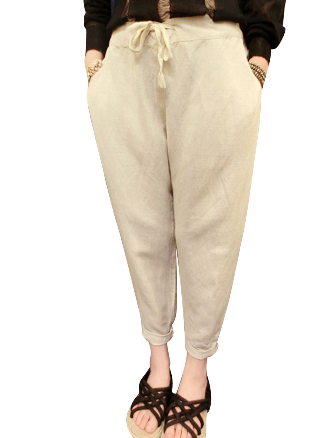 Lady Drawstring Elastic Ribbed Cuffs Front Pockets Casual Linen Pants Beige XS