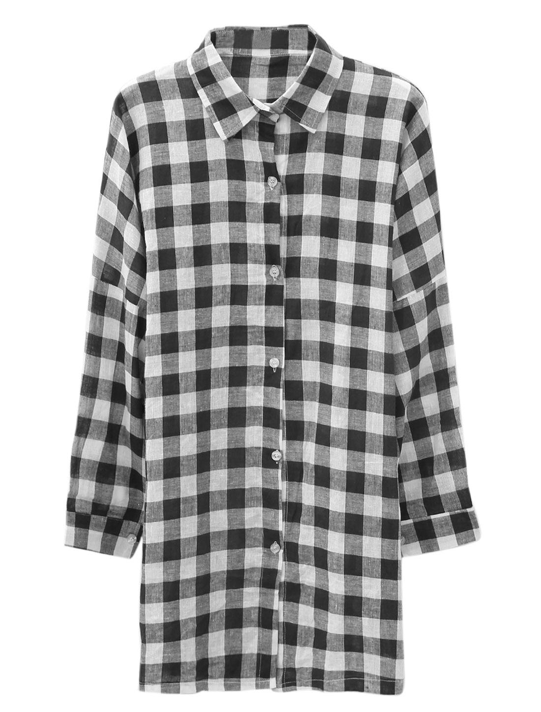 Lady Point Collar Plaids Pattern Single Breasted Casual Shirt Black White M