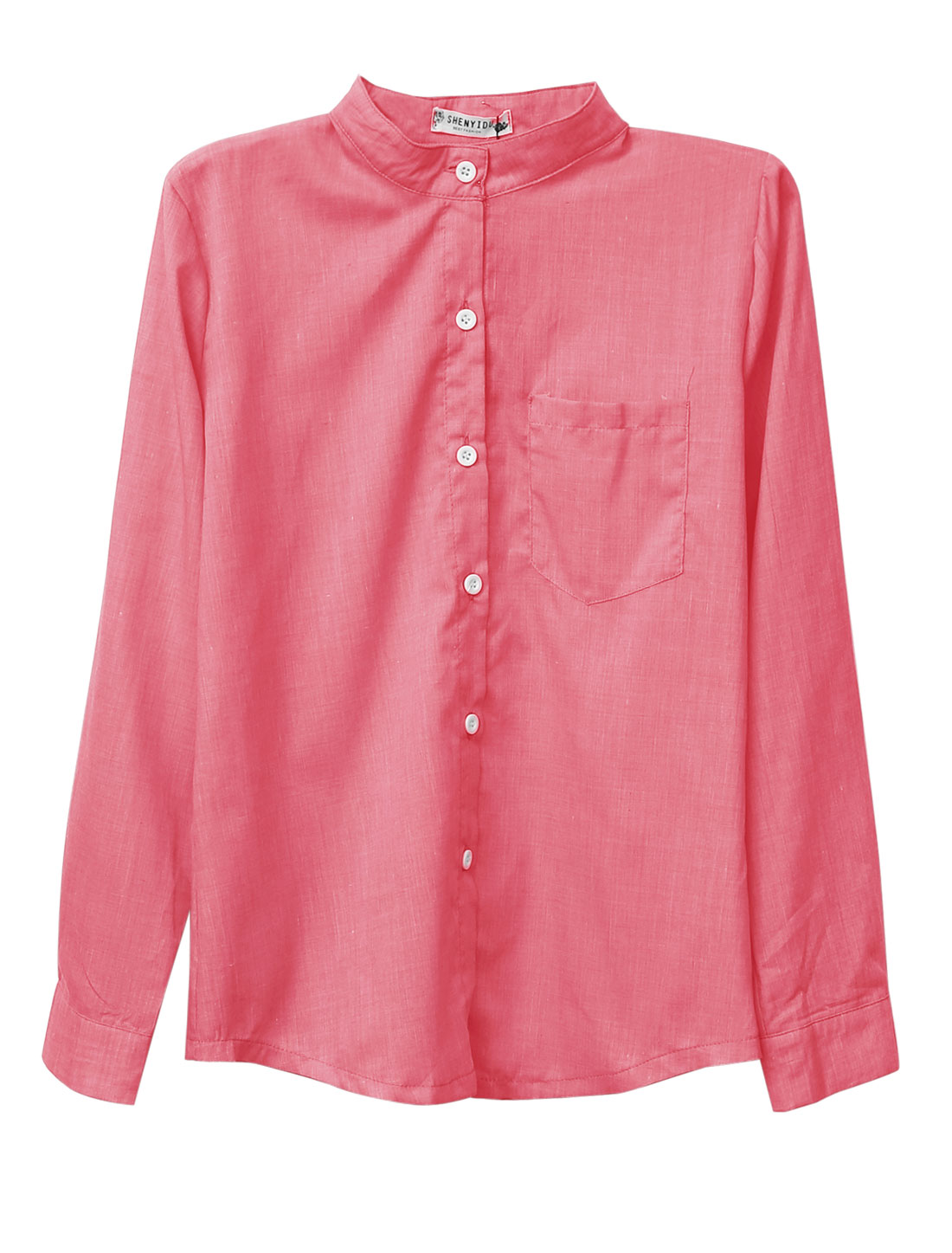 Lady Stand Collar Single Breasted One Pocket Chest Casual Shirt Deep Pink S