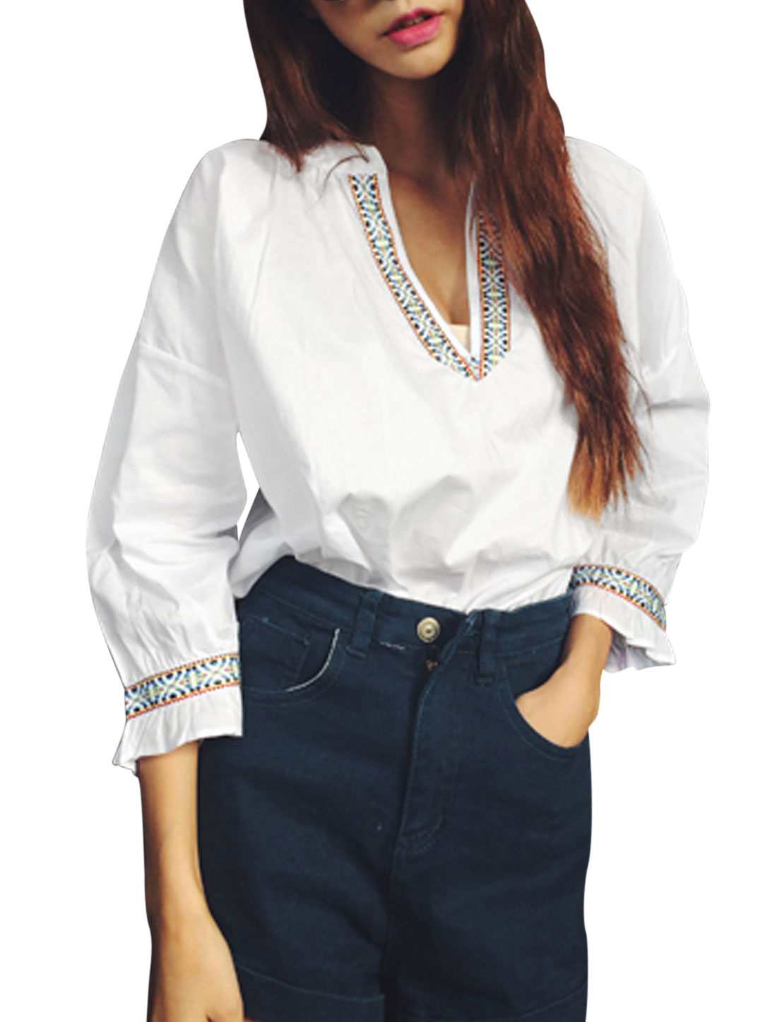 Lady Split Neck Embroidery Detail Fashion Casual Top White S