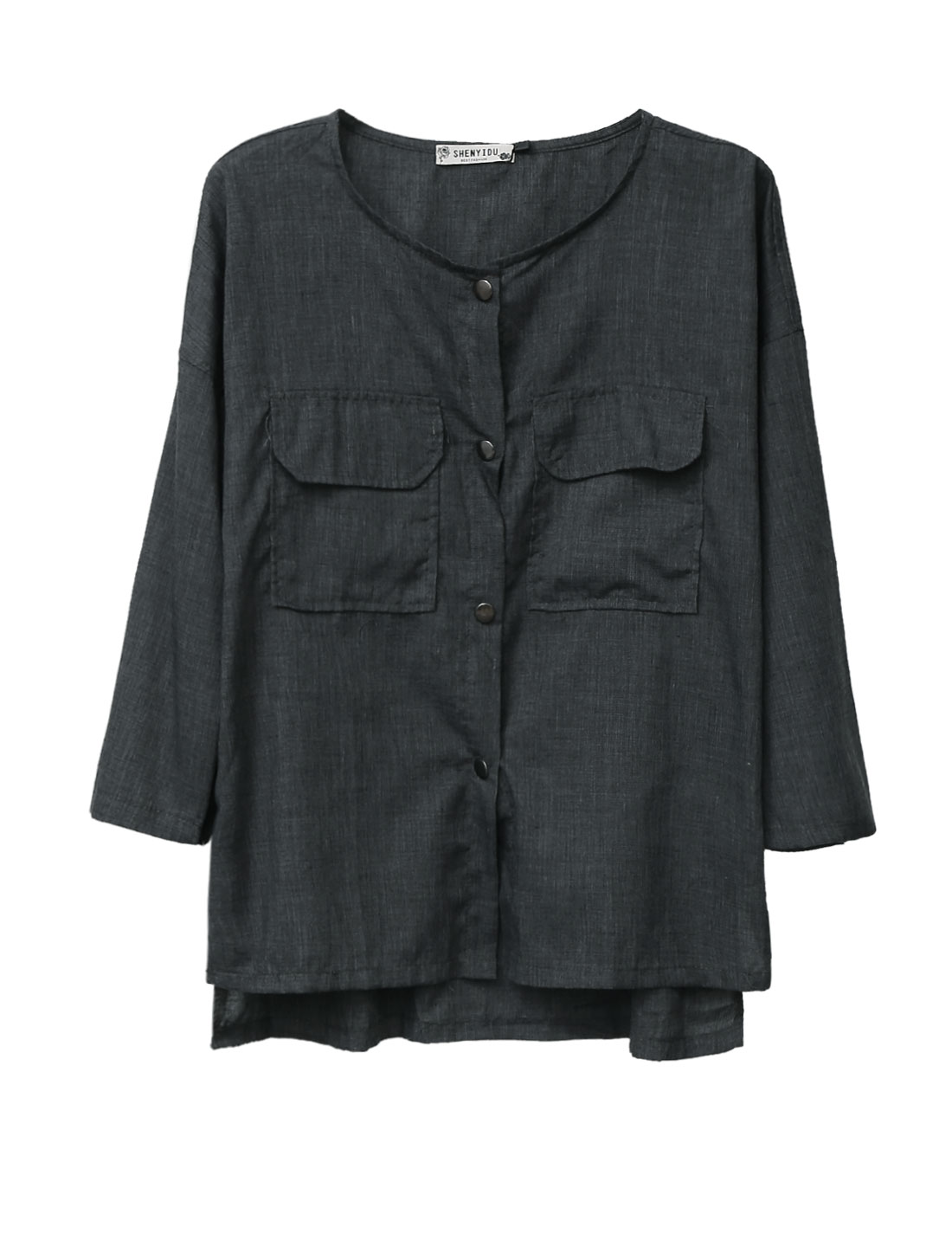 Lady Single Breasted Two Flap Pockets Front Casual Shirt Dark Gray S
