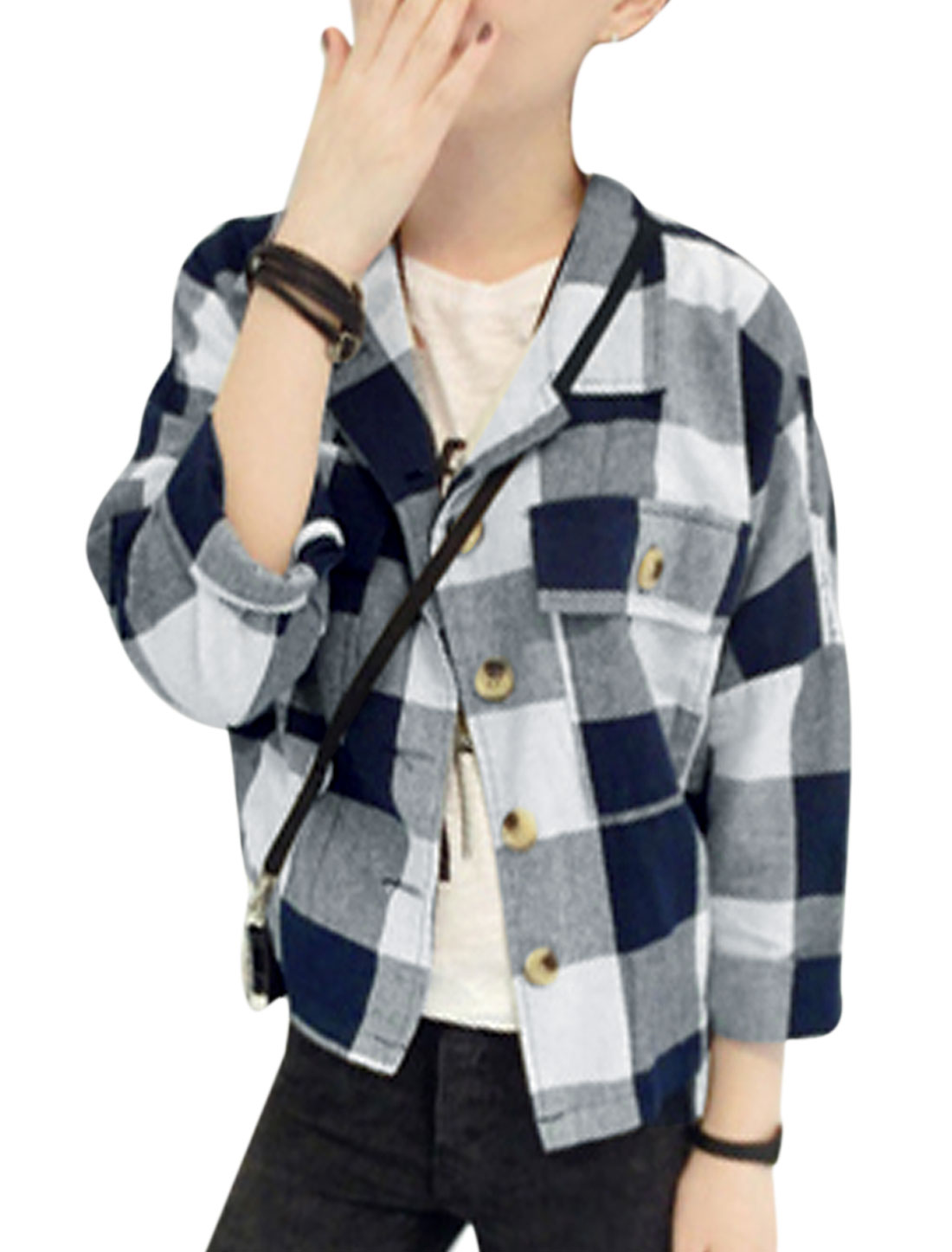 Lady Point Collar Check Pattern Single Breasted Casual Cropped Jacket Navy Blue White S
