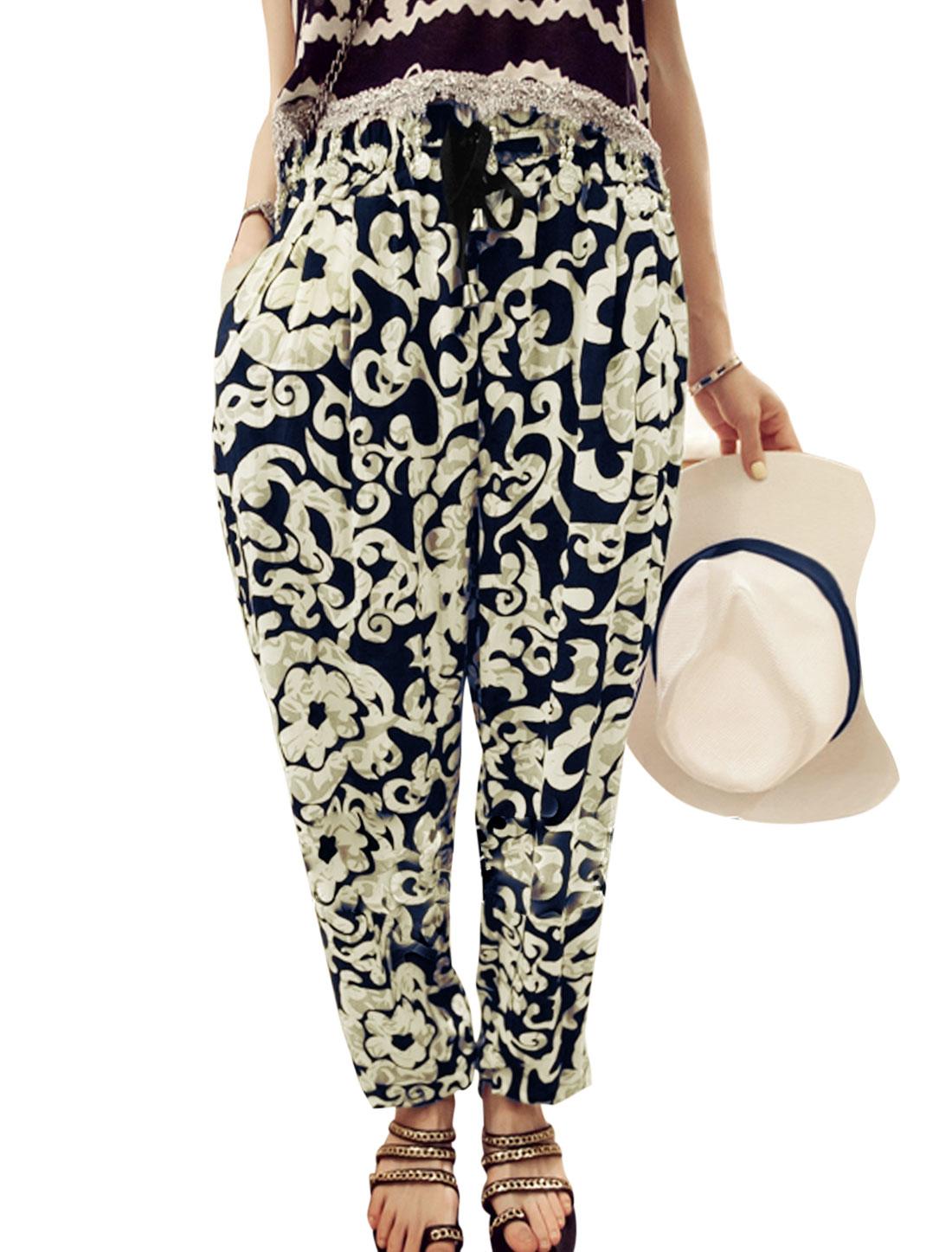 Lady Elastic Waist Florals Pattern Casual Harem Pants Navy Blue XS