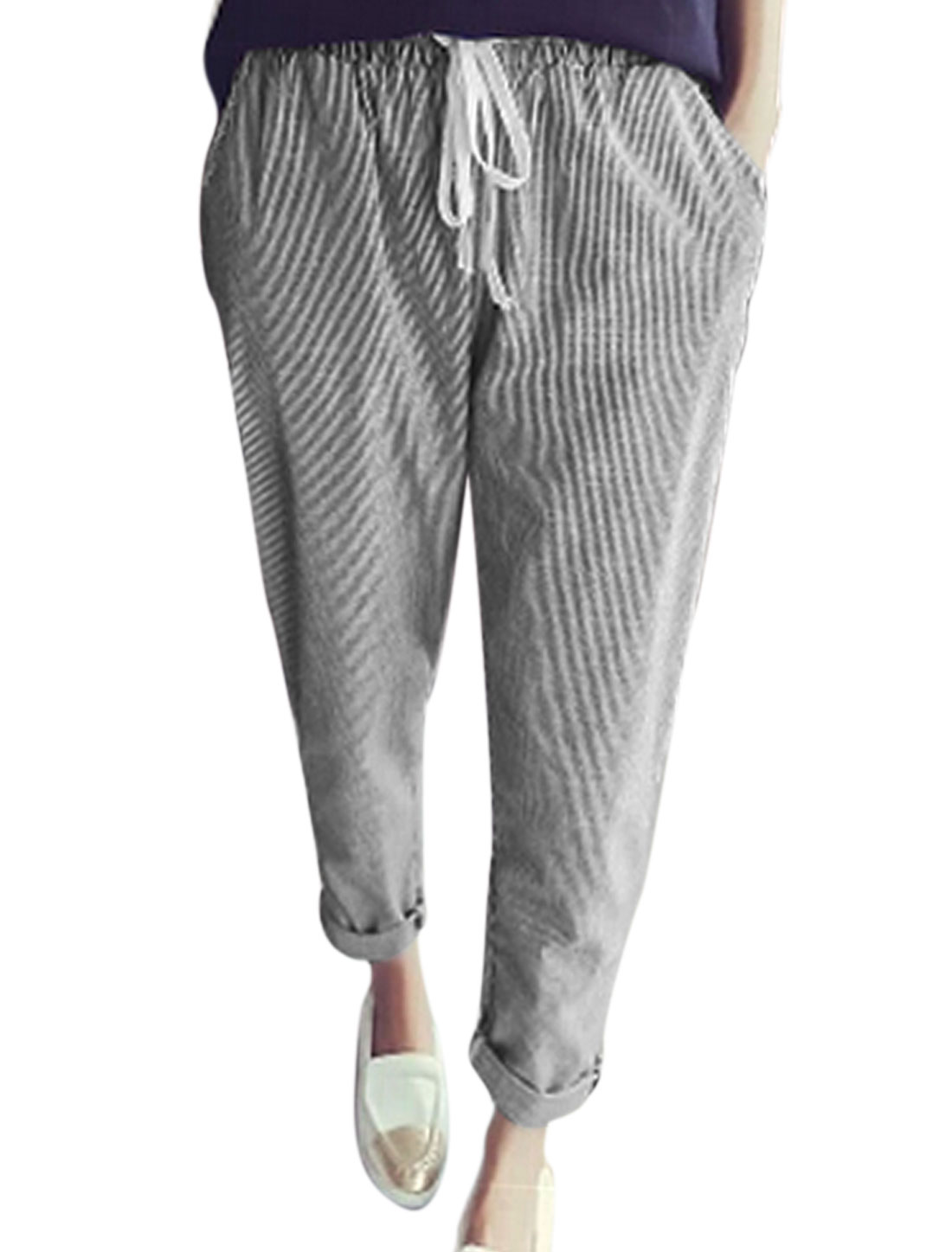 Women Slant Front Pockets Vertical Stripes Casual Pants Black White XS