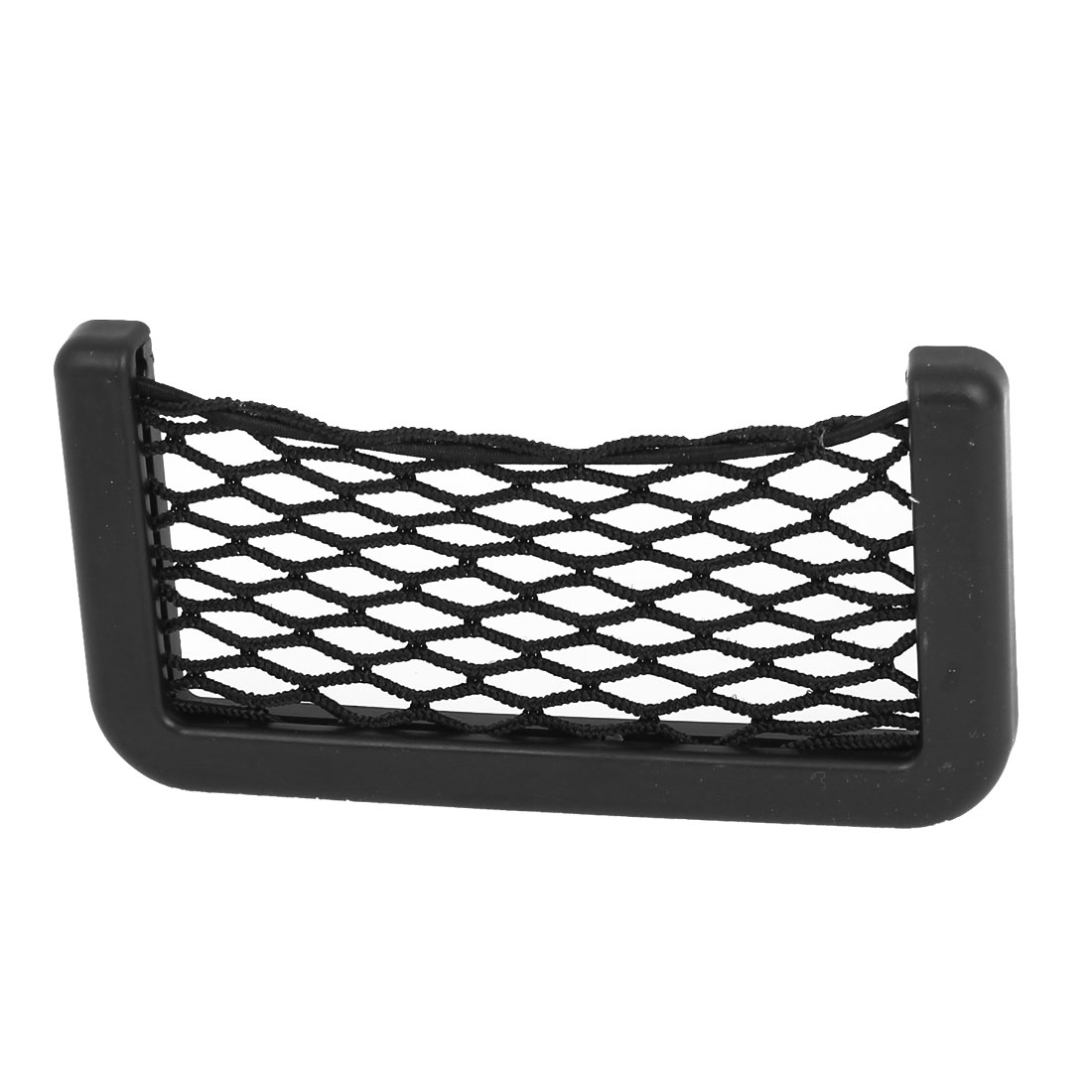 Elastic Nylon Net Design Phone Money Black String Mesh Bag Pocket for Car Motor
