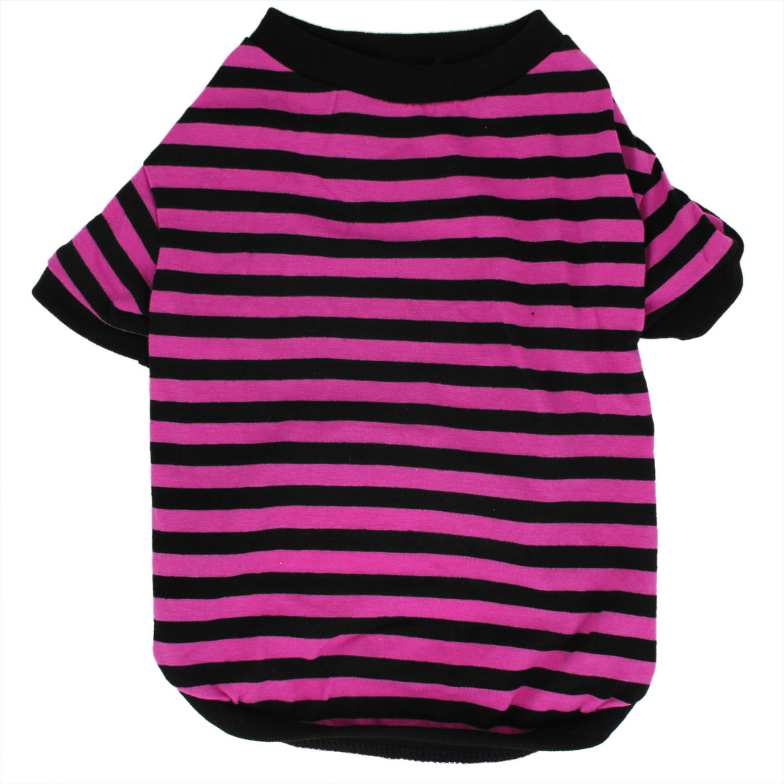 Chiffon Stripe Printed Tee Shirt Dress Fuchsia Black M for Pet Dog Doggy