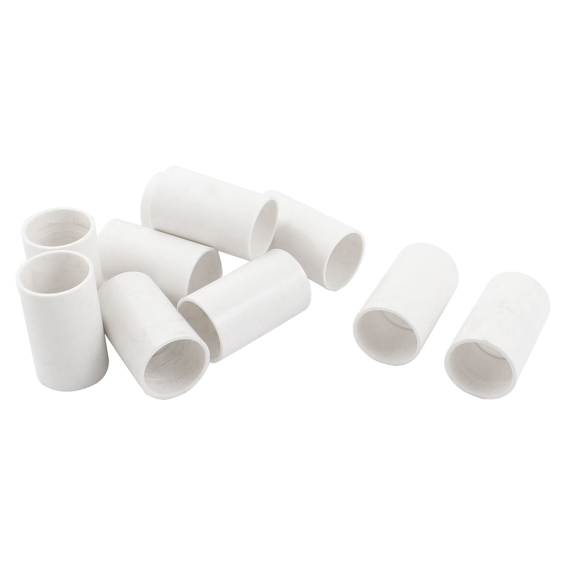 10 Pcs 25mm Inner Diameter Straight PVC Pipe Connectors Fittings White