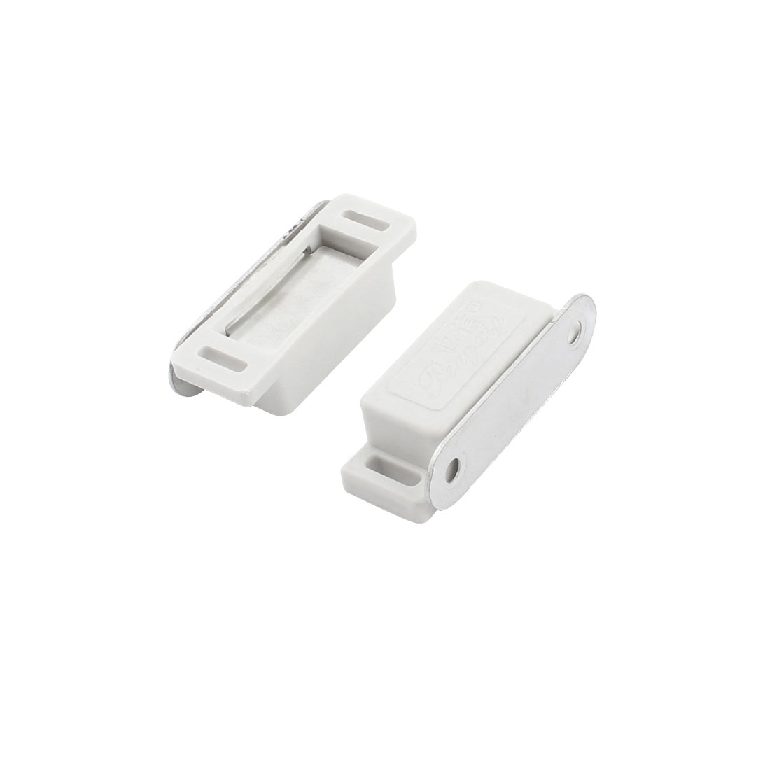 2 Pcs White Plastic Shell Metal Plate Cabinet Door Magnetic Catch Set 1.7""