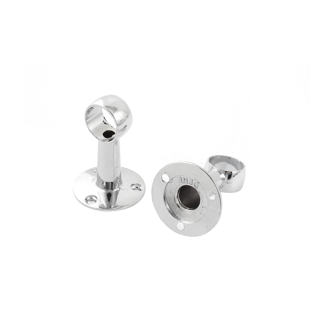 Towel Clothes Hang Bar 20mm Dia Flanged Socket Silver Tone 2 Pcs