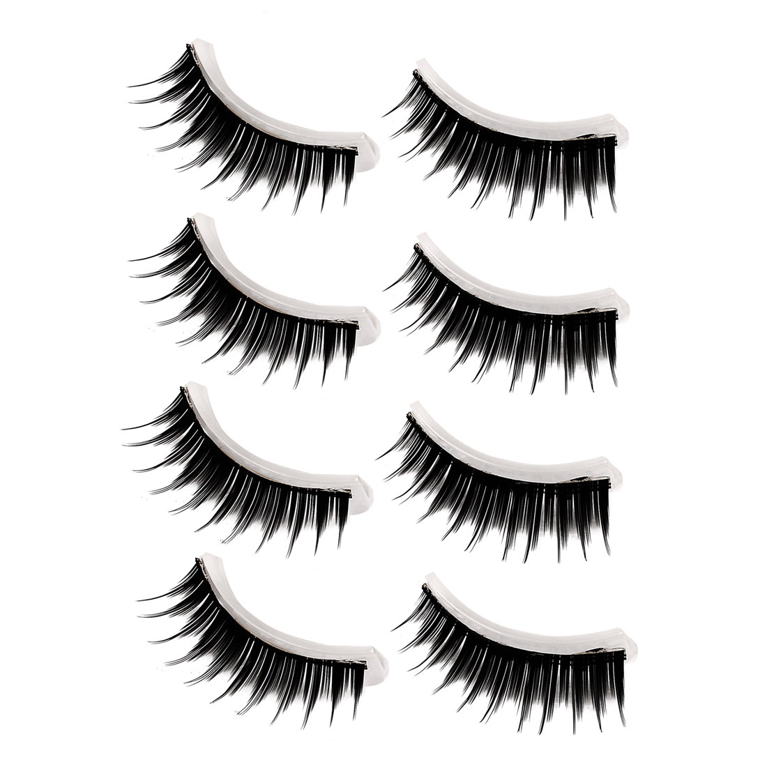 4 Pairs Black Adhesive False Eyelashes Fake Eye Lashes w Glue for Lady