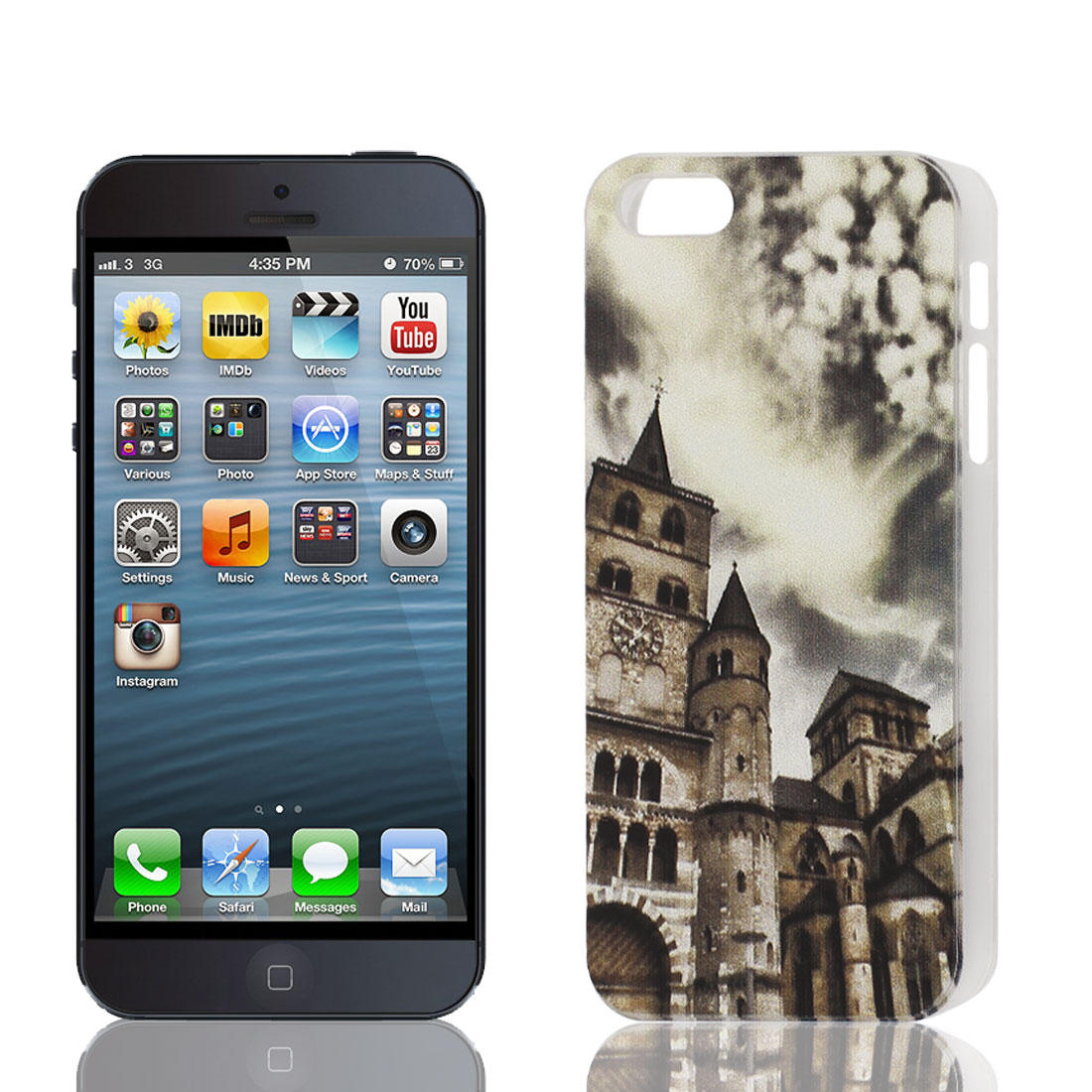 Clear Frame Buildings Pattern Plastic Back Case Cover Protector for iPhone 5 5th