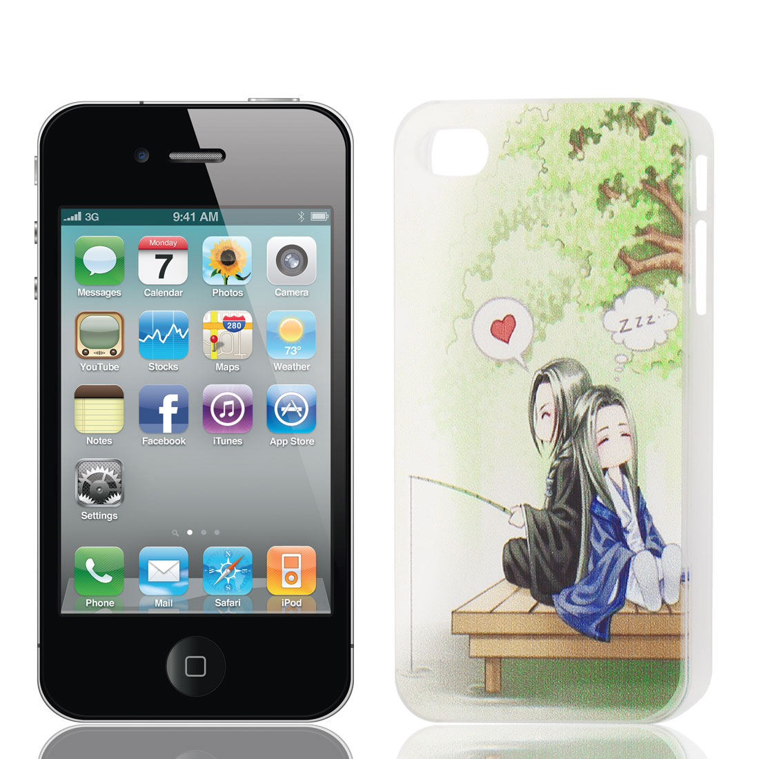 Cartoon Lovers Prints Plastic Back Case Cover Protector for Apple iPhone 4 4G 4S