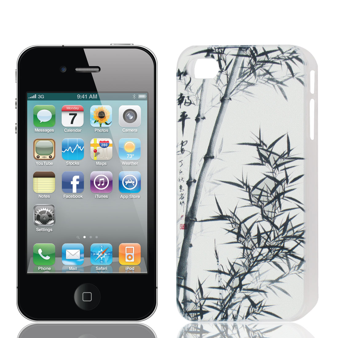 Black Bamboo Print Plastic Back Case Cover Protector White for Apple iPhone 4 4S