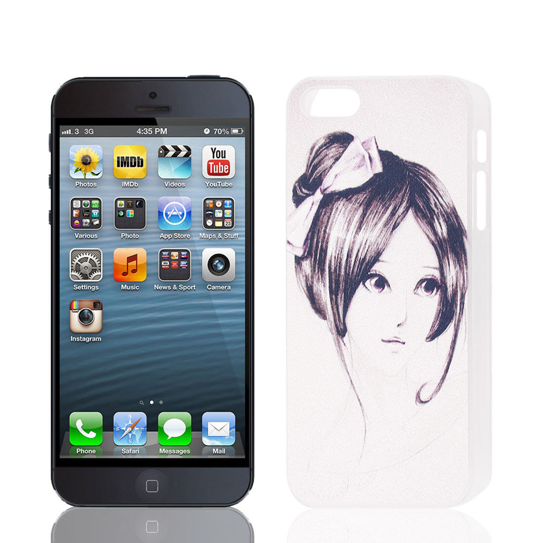 Girl Pattern Plastic Back Case Cover Protector Black White for Apple iPhone 5 5S