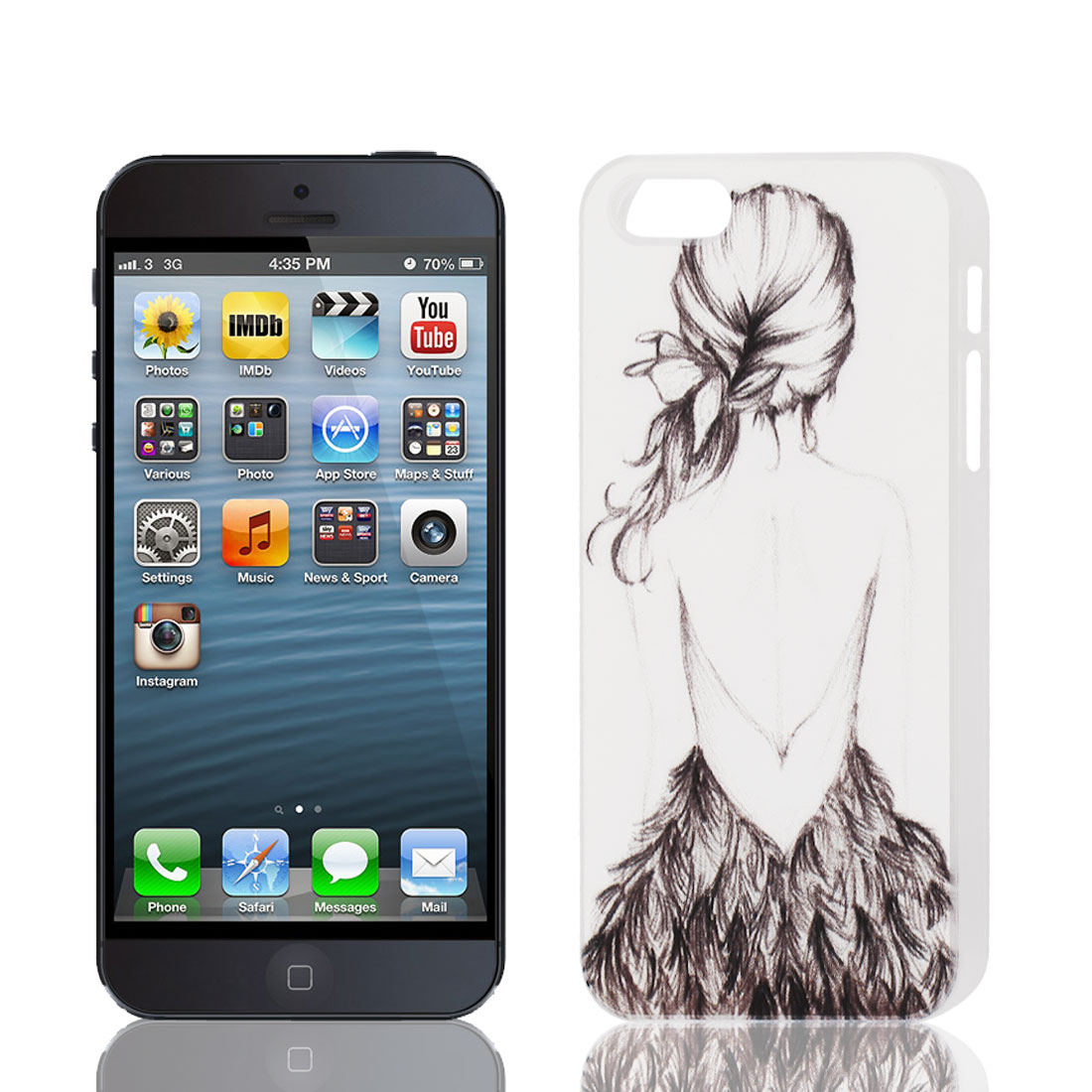 Sexy Girl Pattern Back Case Cover Protector Black White for Apple iPhone 5 5S 5G