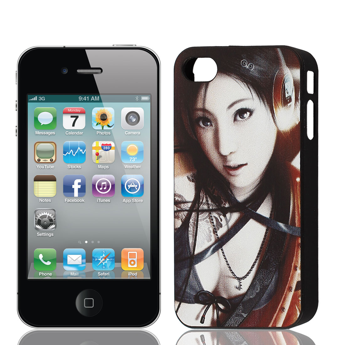 Sexy Girl Prints Plastic Protective Back Case Cover Black White for iPhone 4 4th