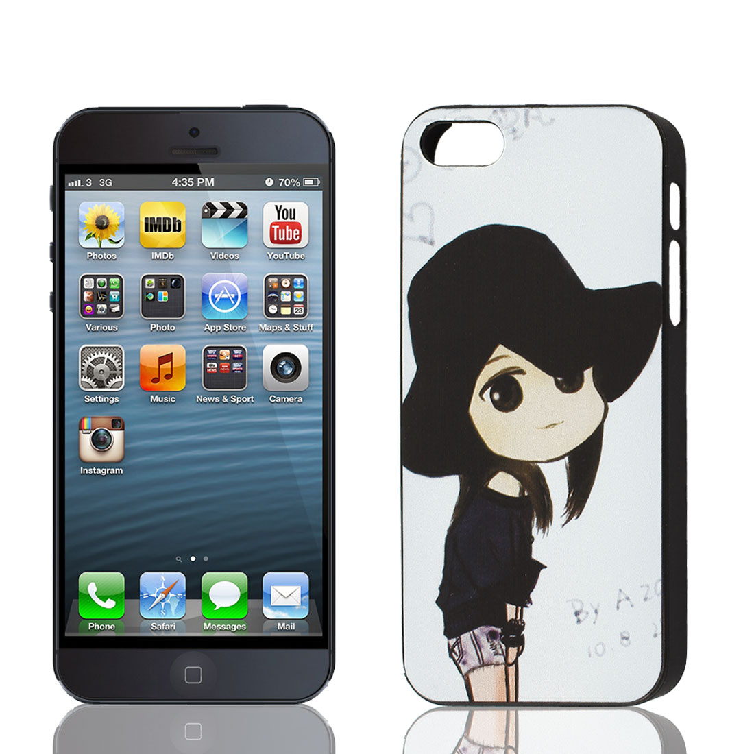 Hat Girl Pattern Plastic Protective Back Case Cover Black White for iPhone 5 5th