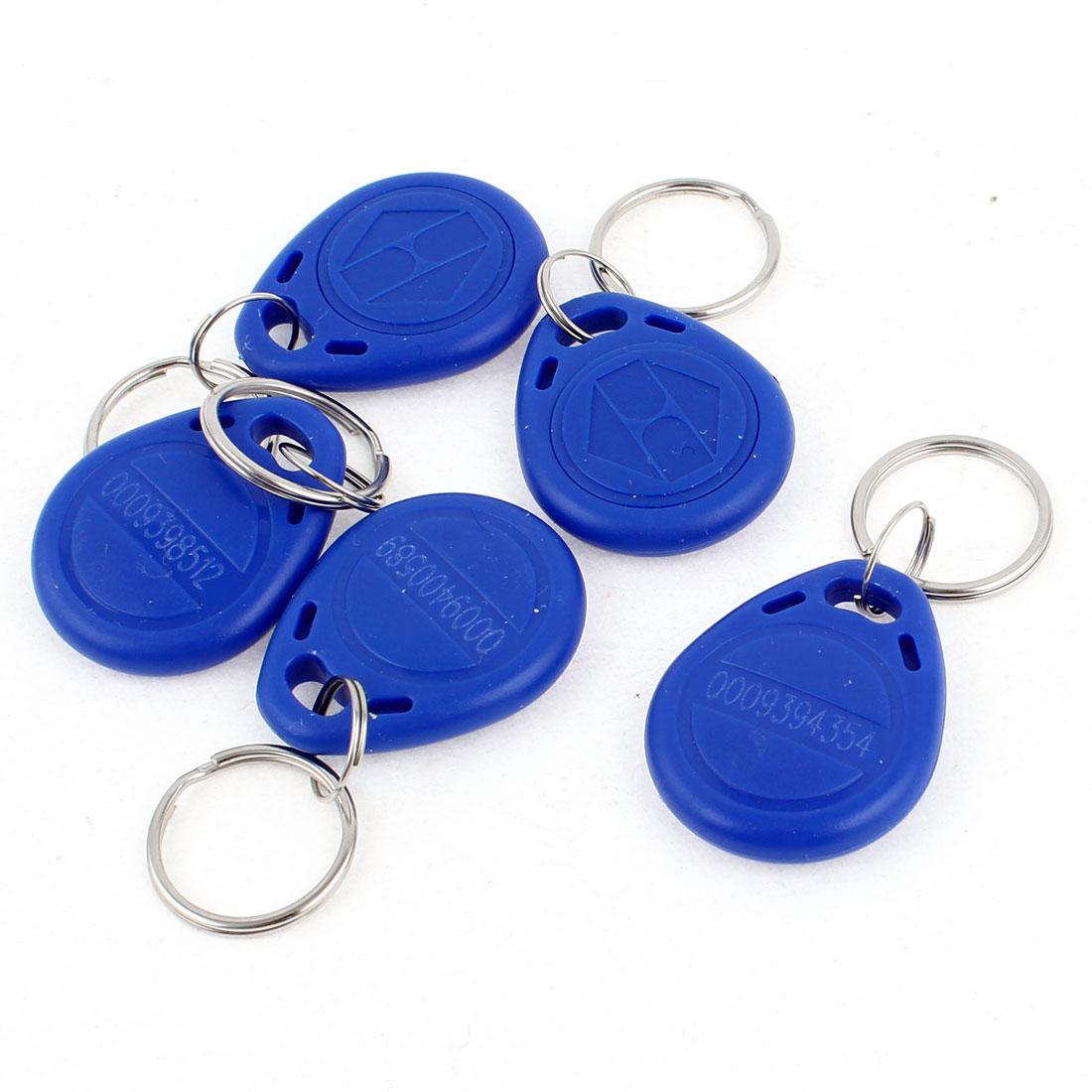 5Pcs Blue EM4100 125Khz Rfid Proximity Door Control ID Card Token Tag Keychains