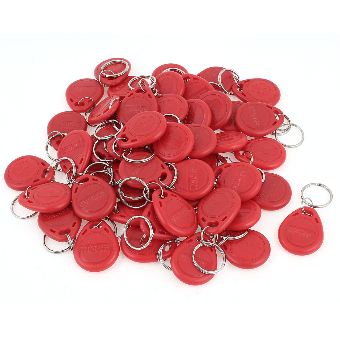 50pcs Red RFID EM4100 125KHz Access Control ID Cards Tag Keyring Key Fobs