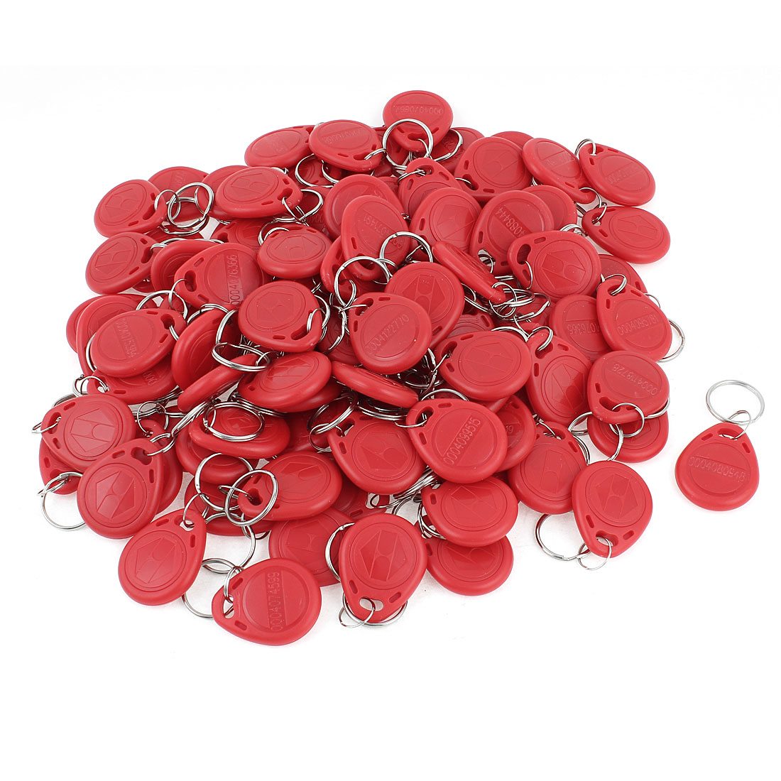 100Pcs Red EM4100 125Khz Rfid Proximity Door Control ID Card Token Tag Key Ring