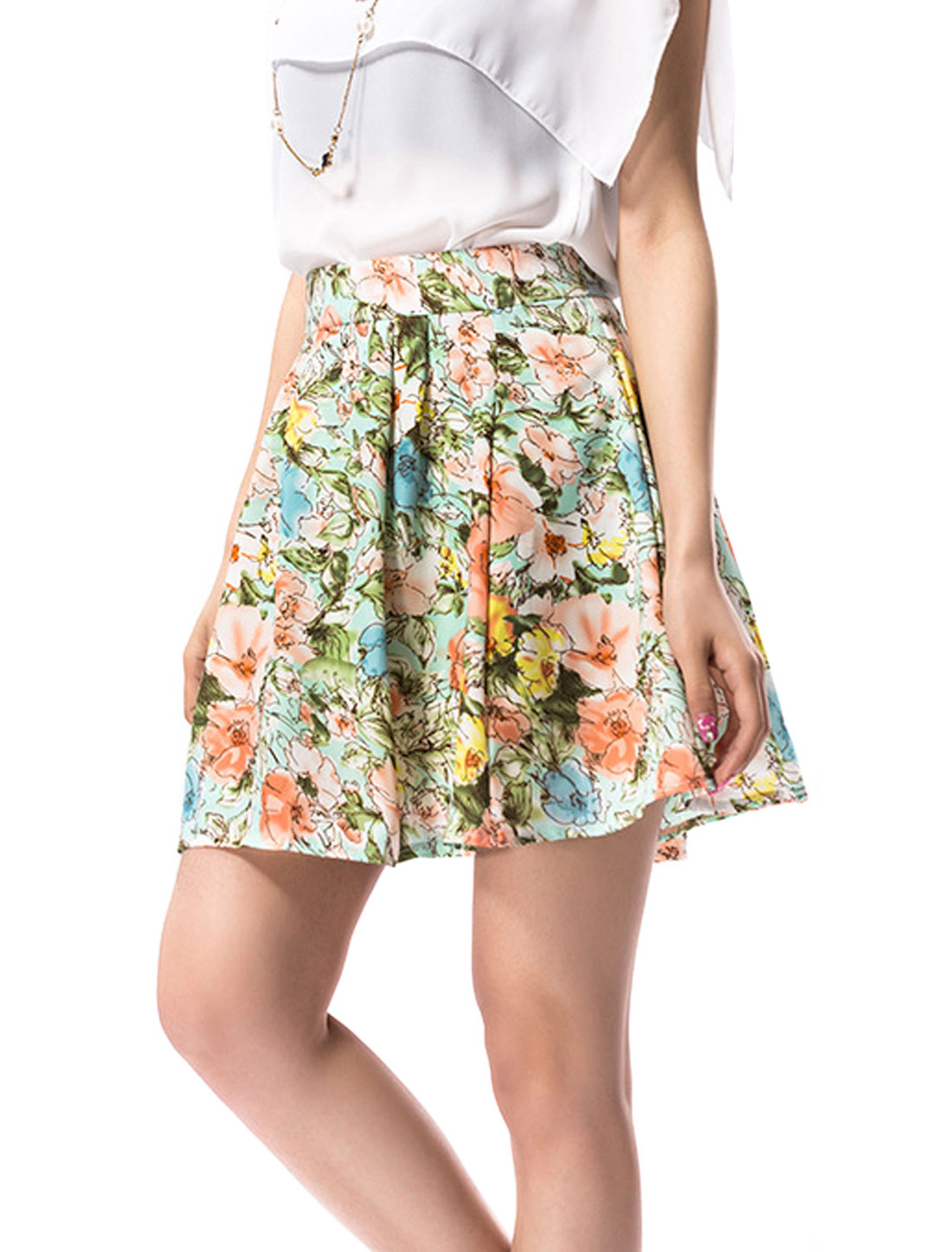 Women Sweet Concealed Side Zipper Floral Prints Pleated Skirt Multicolor M